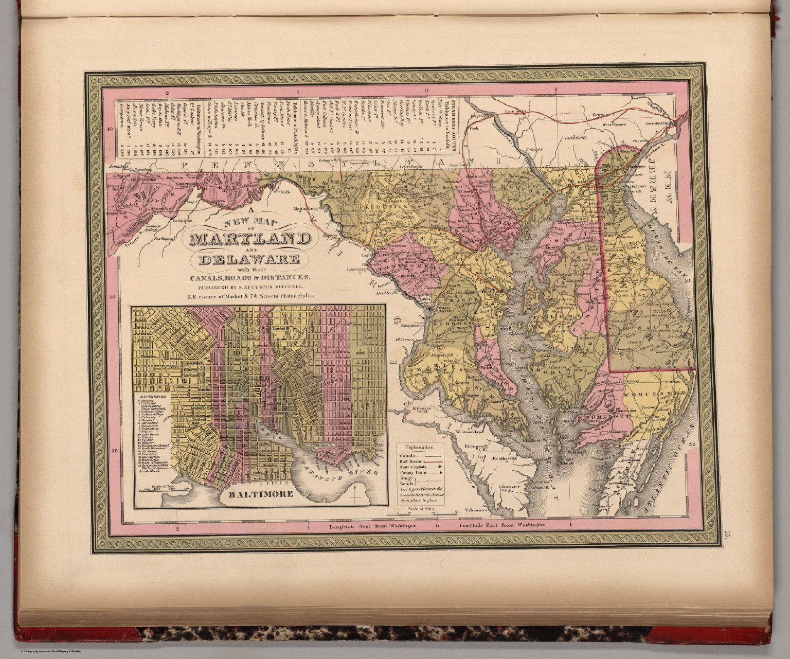 New Map of Maryland and Delaware with their Canals, Roads ...