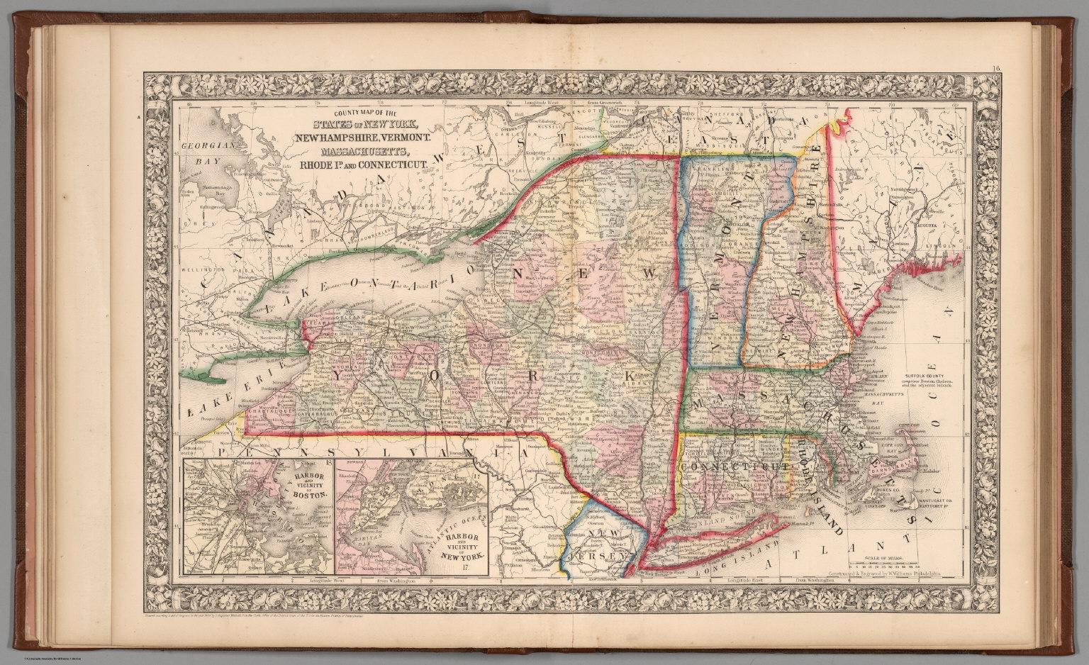 County Map Of The State Of New York New Hampshire Vermont