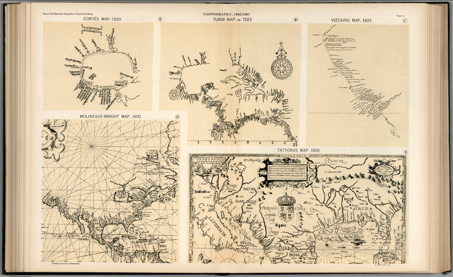 Plate 17. Facsimile Cartography 1492-1867. Cortes Map, 1520. Turin Map, ca. 1523, etc.