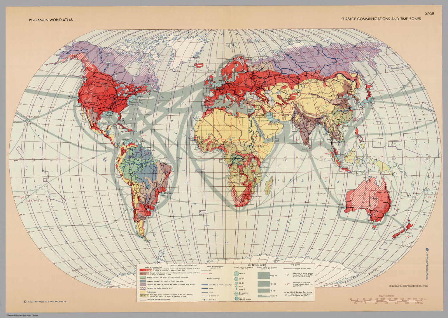 Surface communications and time zones pergamon world atlas surface communications and time zones pergamon world atlas gumiabroncs Images