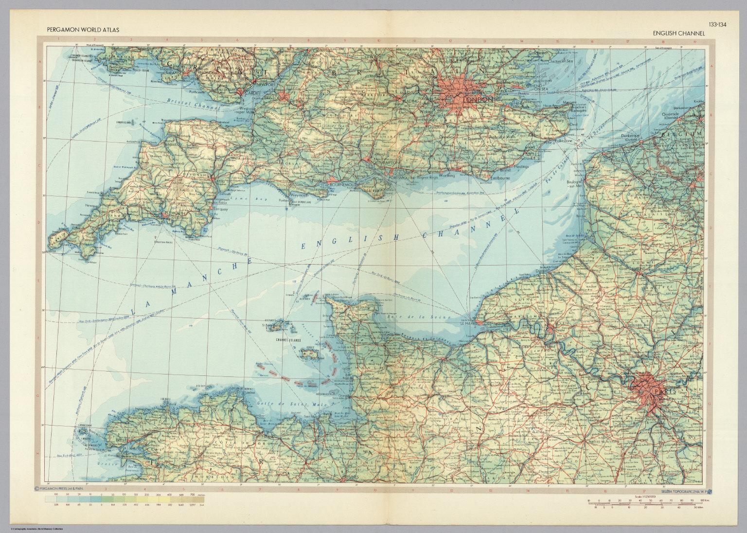 English channel pergamon world atlas david rumsey historical map english channel pergamon world atlas gumiabroncs Choice Image