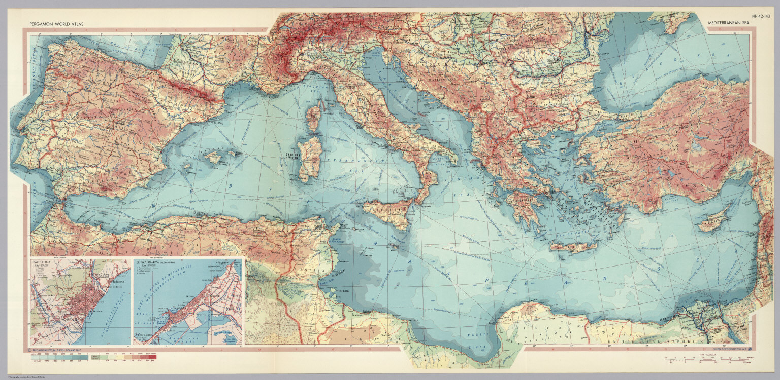 Mediterranean Sea. Pergamon World Atlas. - David Rumsey Historical ...