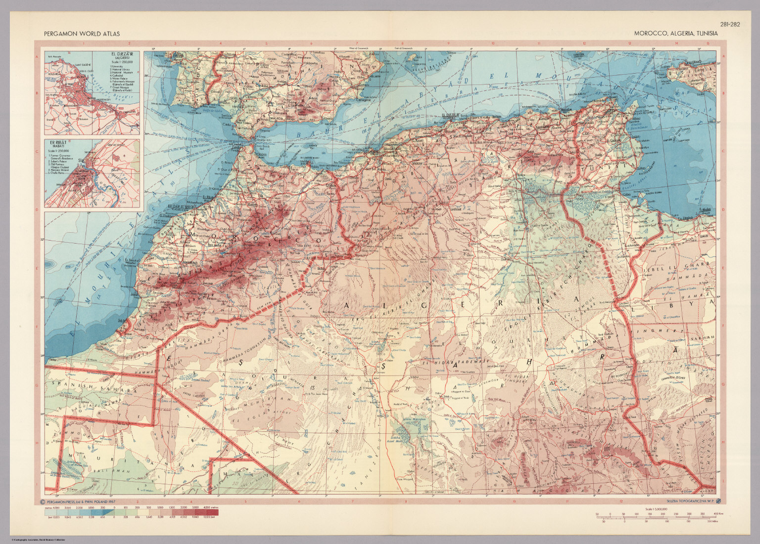Morocco, Algeria, Tunisia. Pergamon World Atlas. - David Rumsey ...