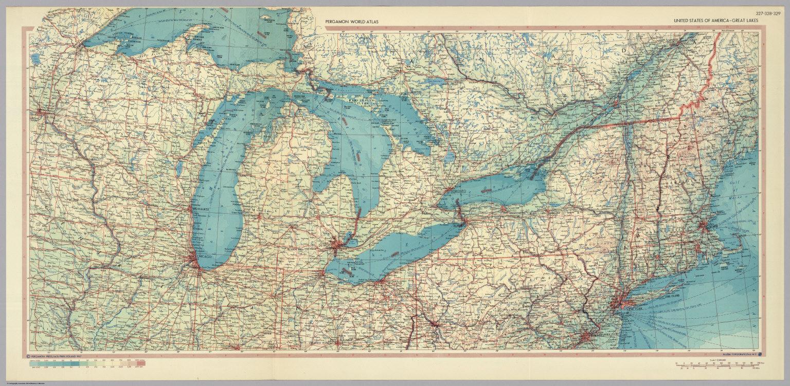United States of America Great Lakes Pergamon World Atlas