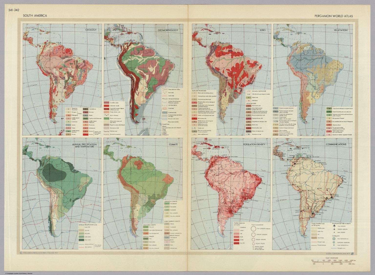 South america pergamon world atlas david rumsey historical map south america pergamon world atlas gumiabroncs Choice Image