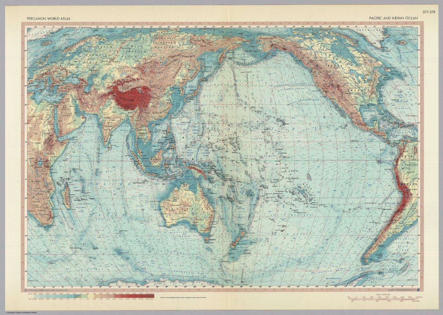 Pacific And Indian Ocean. Pergamon World Atlas.