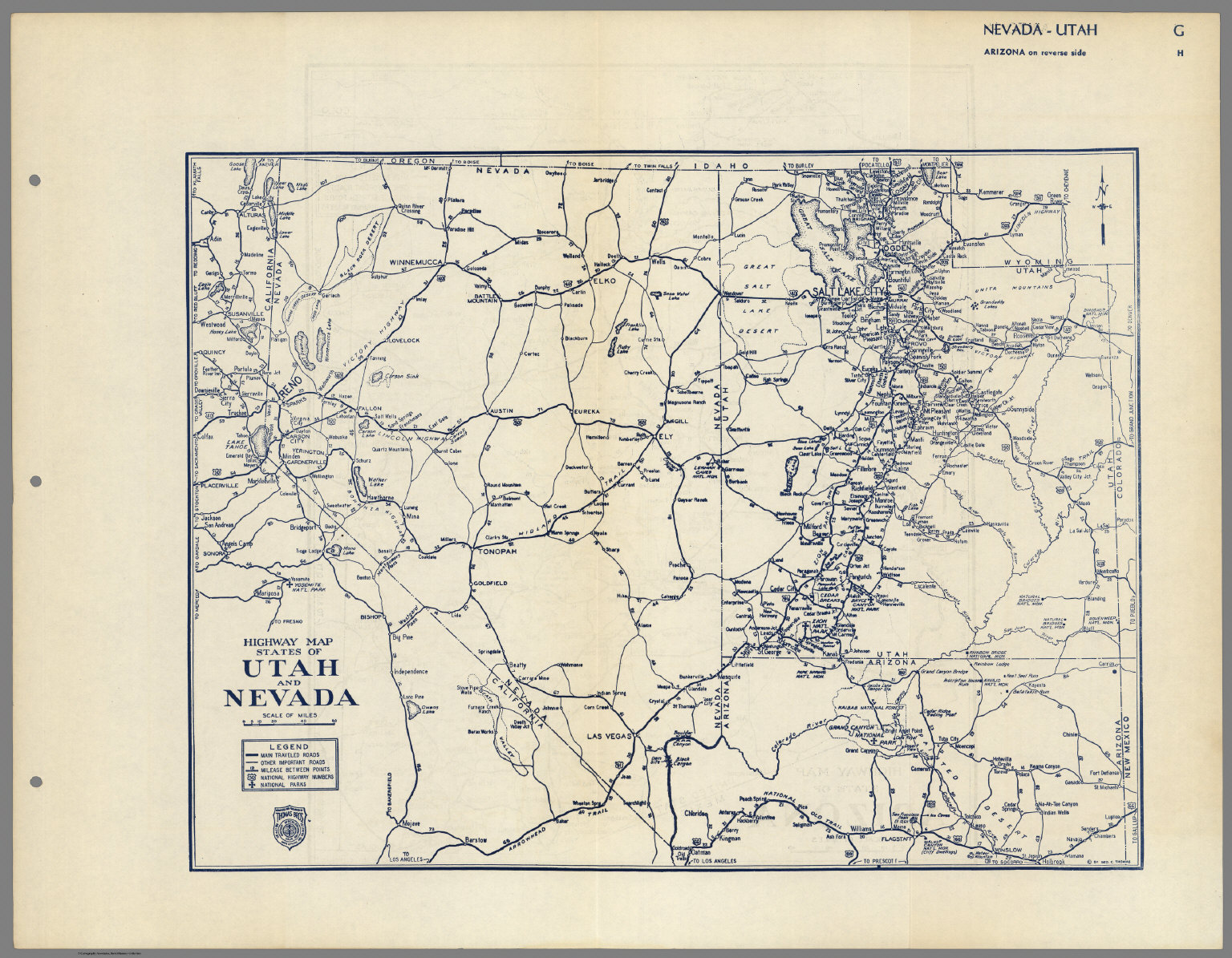 Highway Map States of Utah and Nevada. - David Rumsey Historical Map ...