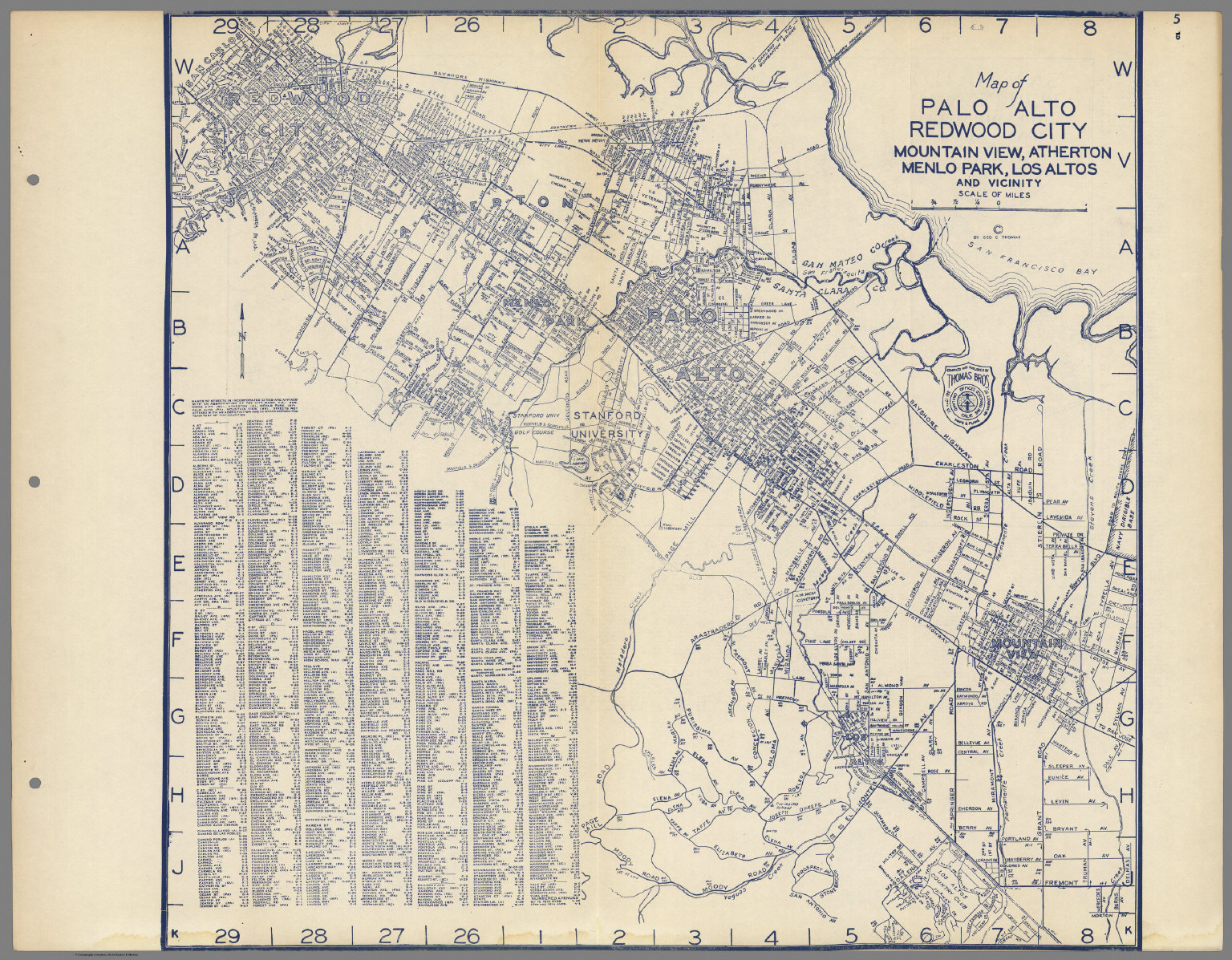Map of Palo Alto Redwood City Mountain View Atherton Menlo Park