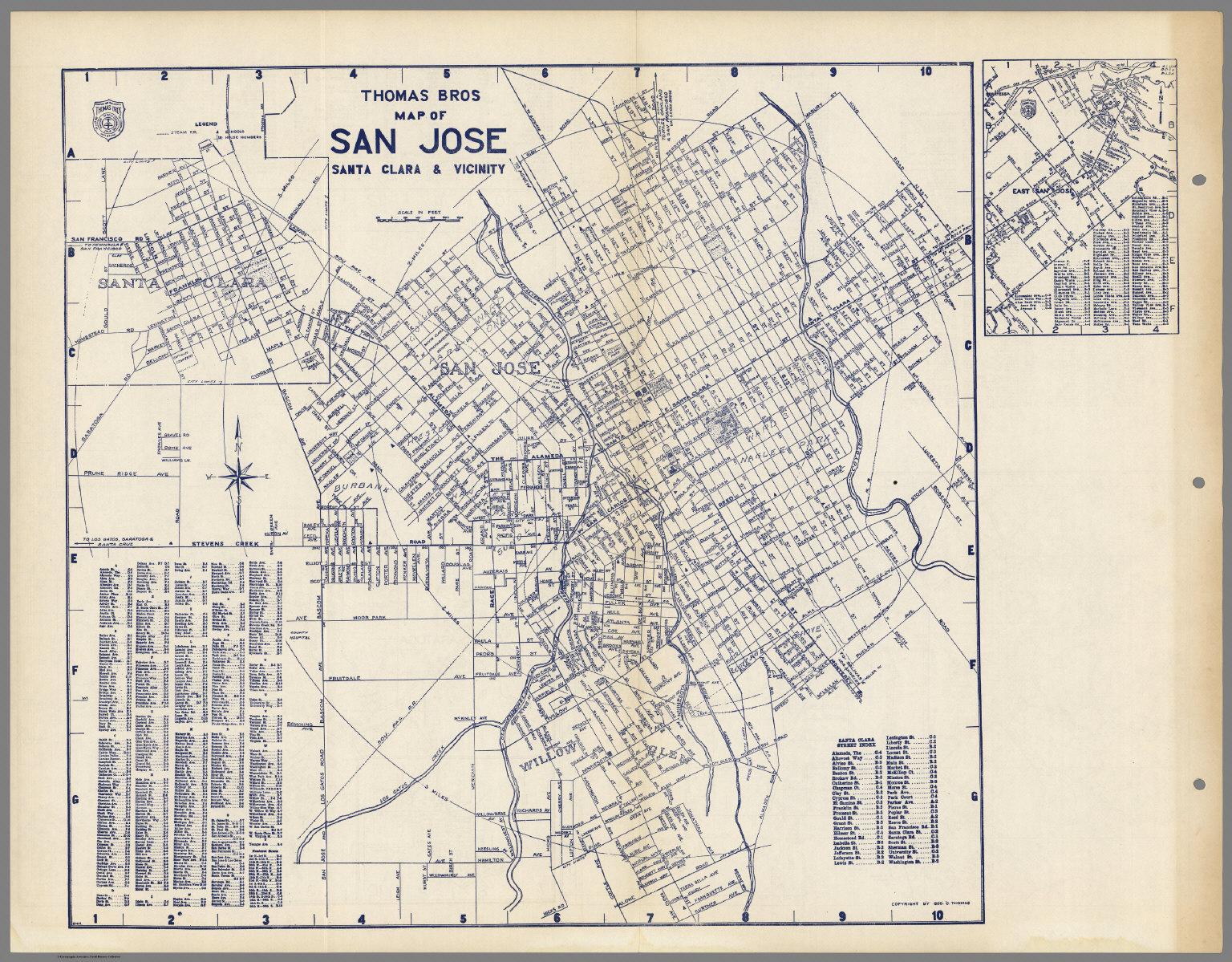 Thomas Bros Map of San Jose, Santa Clara & Vicinity, California ...