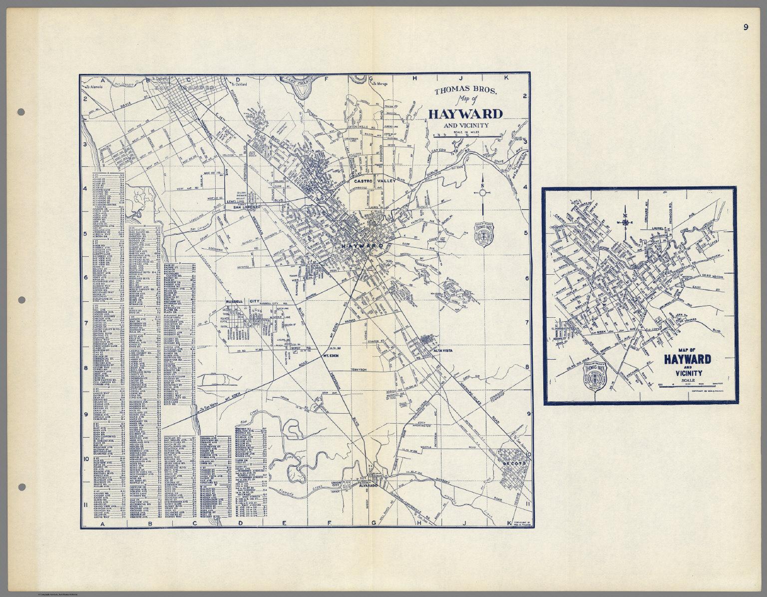 Thomas Bros Map of Hayward and Vicinity San Lorenzo Russell City