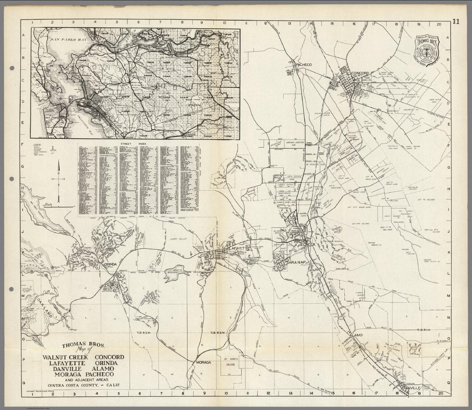 Pacheco California Map.Thomas Bros Walnut Creek Concord Lafayette Orinda Danville