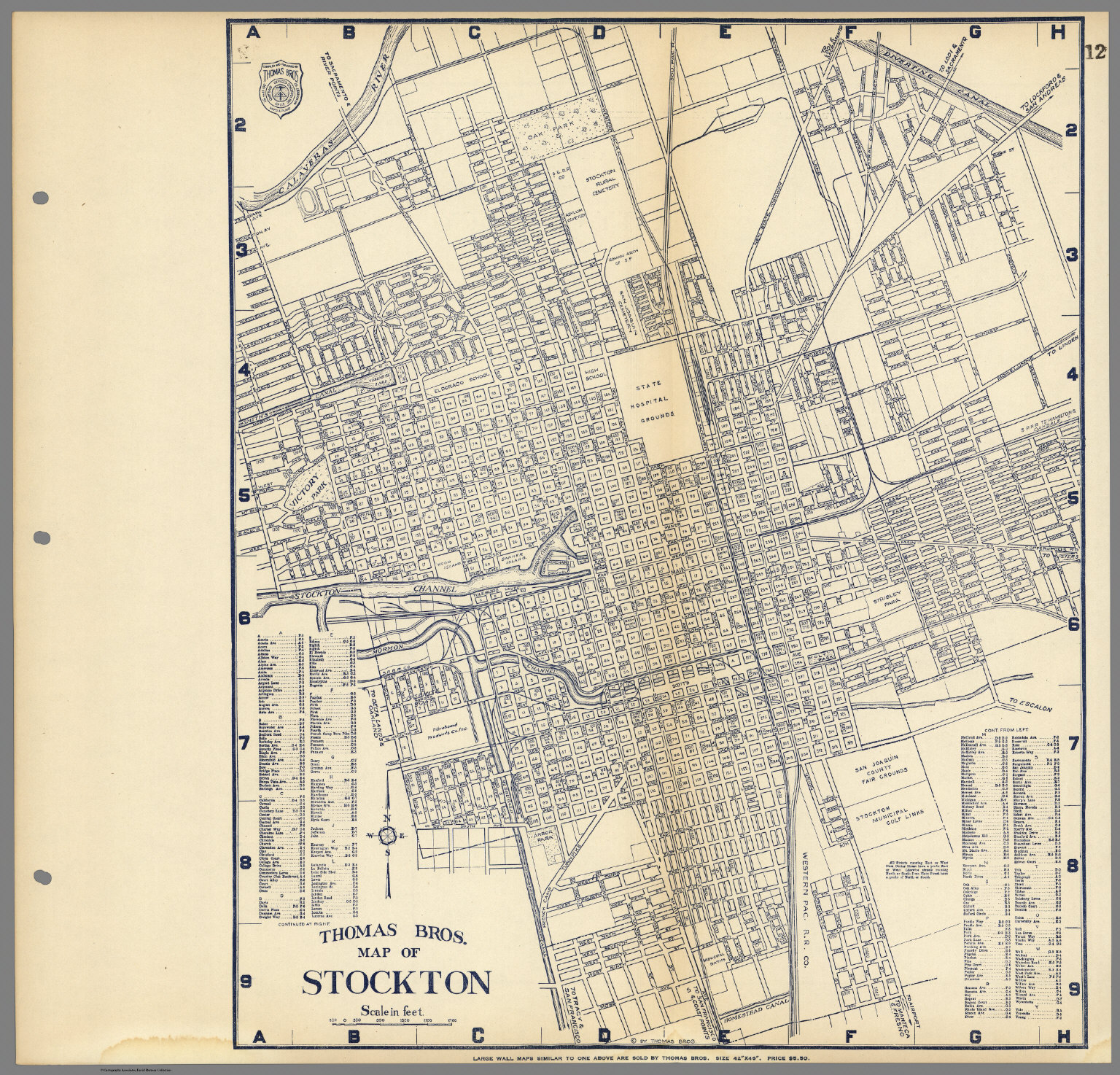 Thomas Bros Map of Stockton California David Rumsey Historical