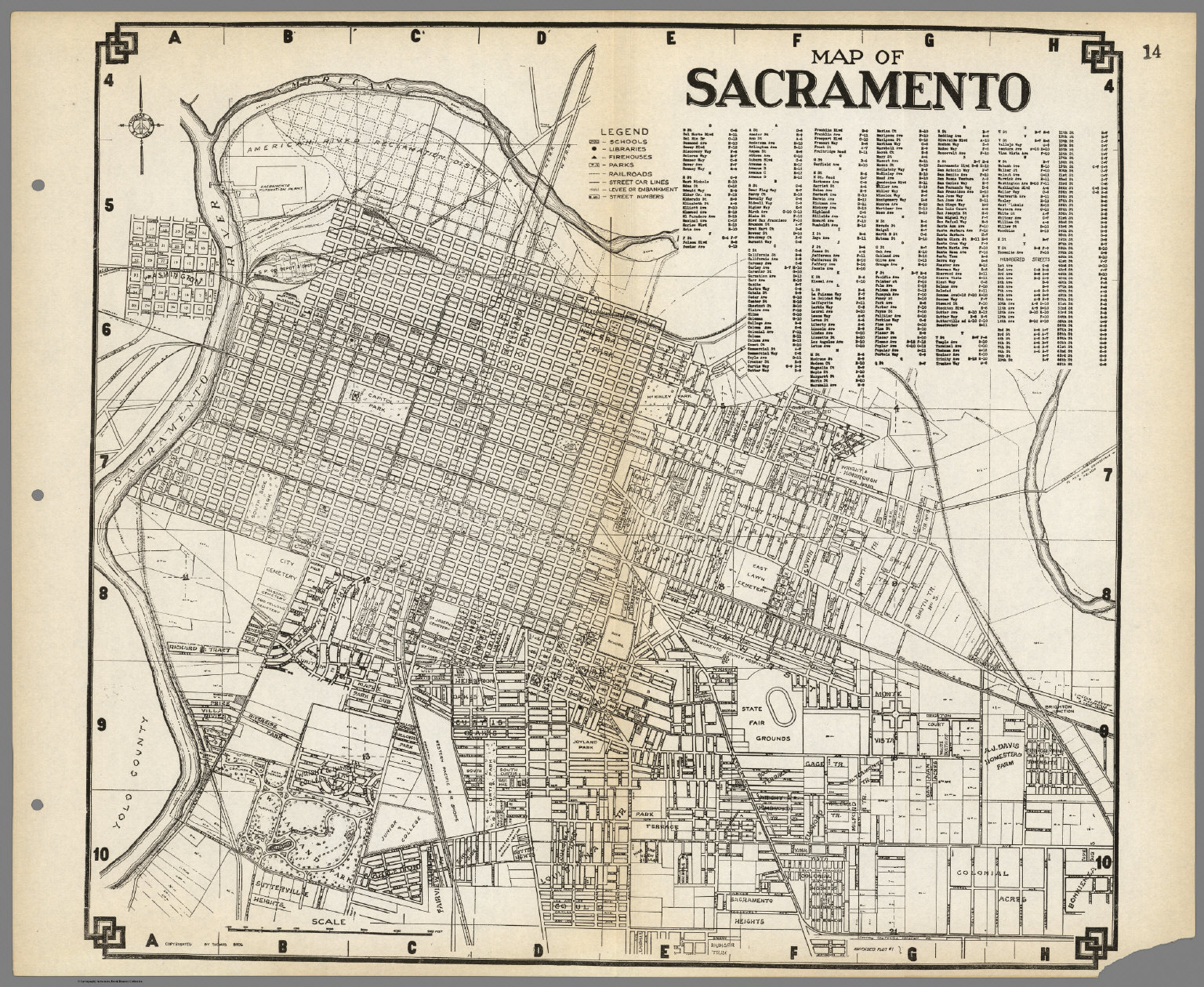 Map of Sacramento, California.
