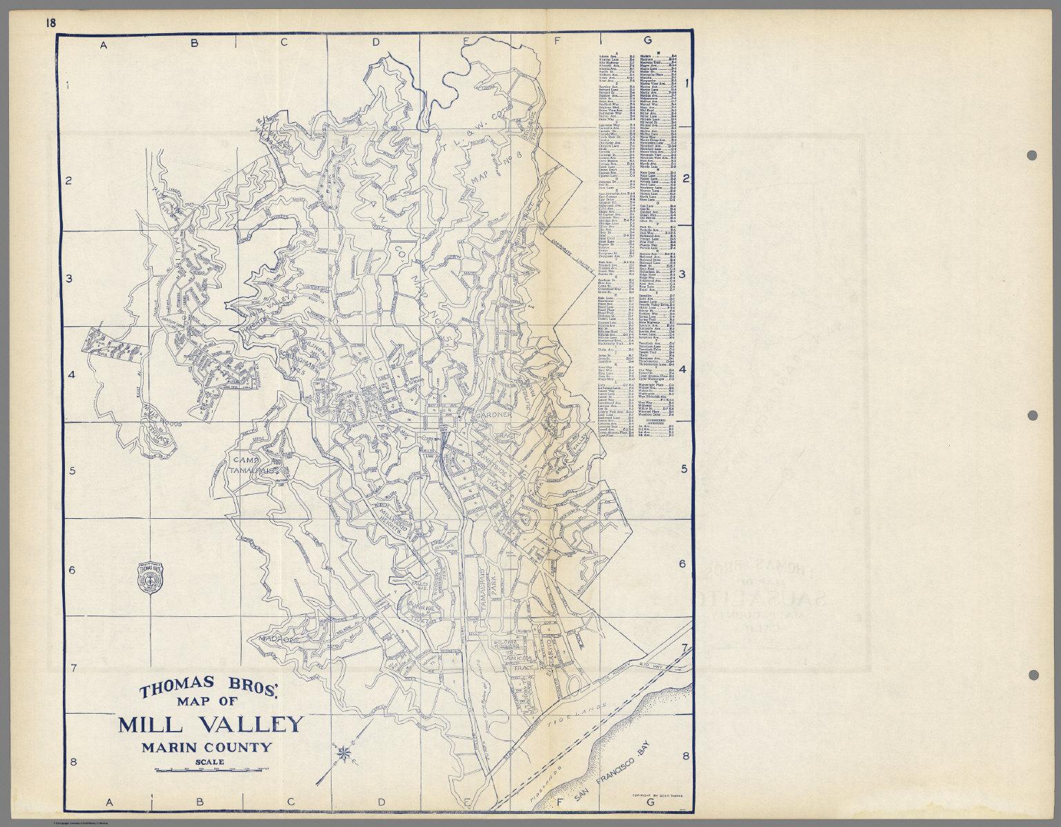 Thomas Bros Map Of Mill Valley Marin County California David
