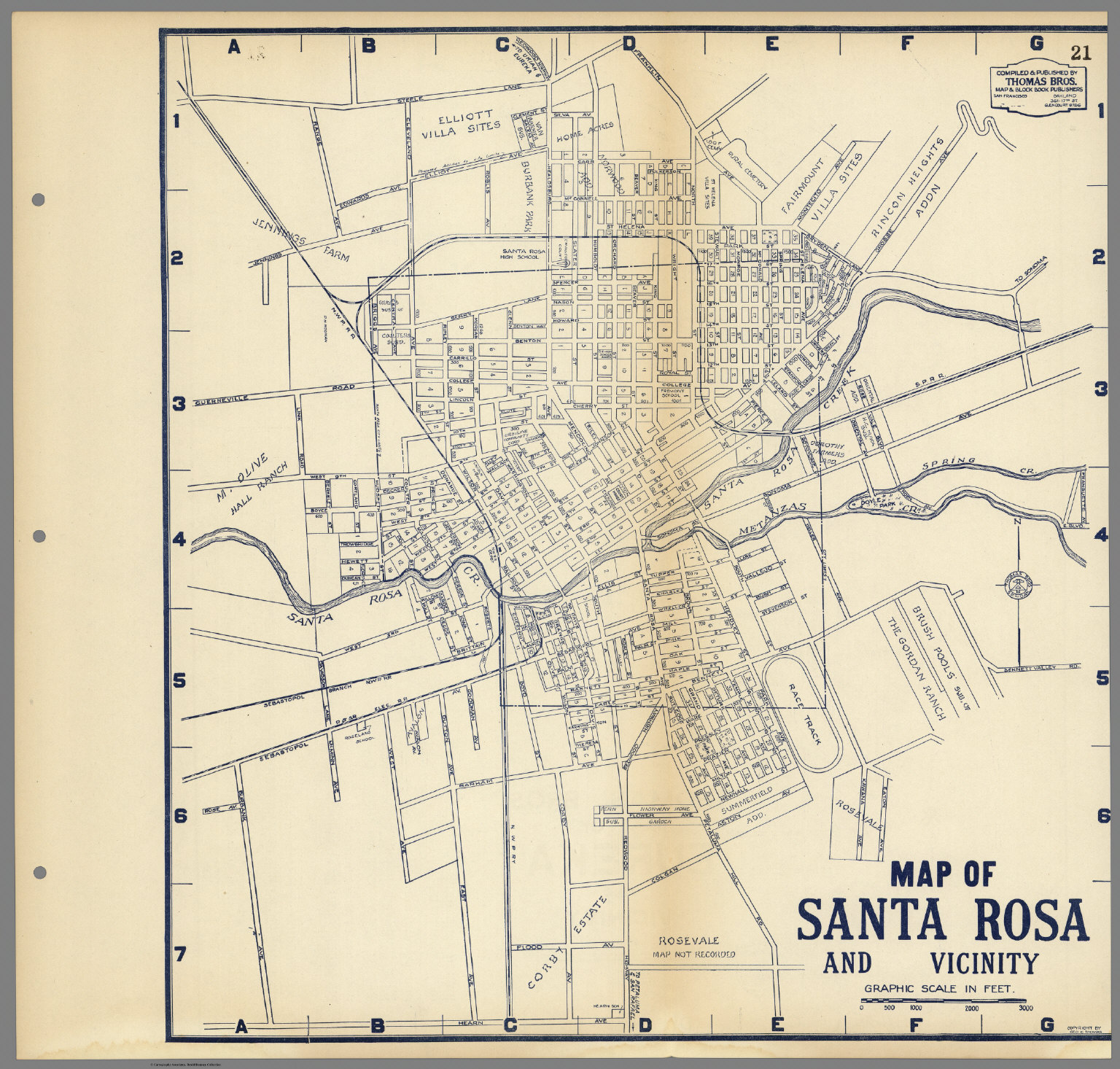 Map of Santa Rosa and Vicinity California David Rumsey