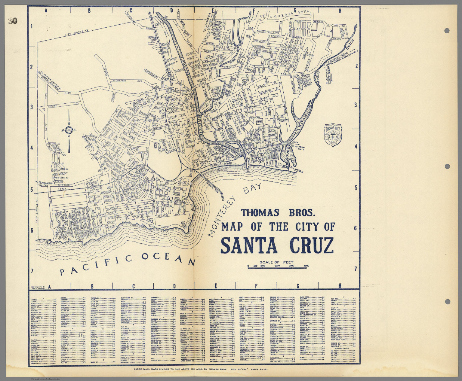Thomas Bros Map of the City of Santa Cruz California David