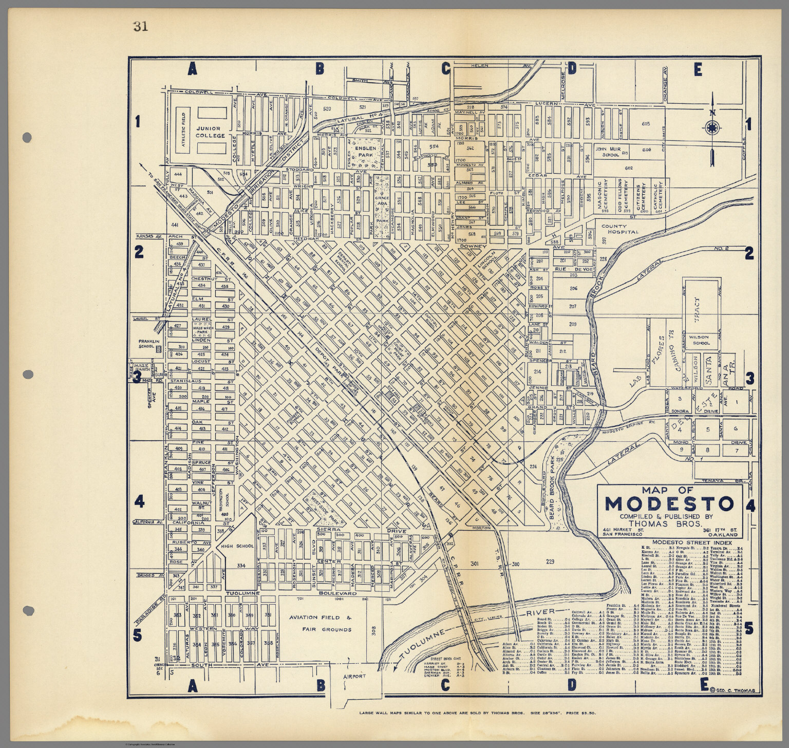 Map of Modesto, California, Compiled & Published by Thomas Bros