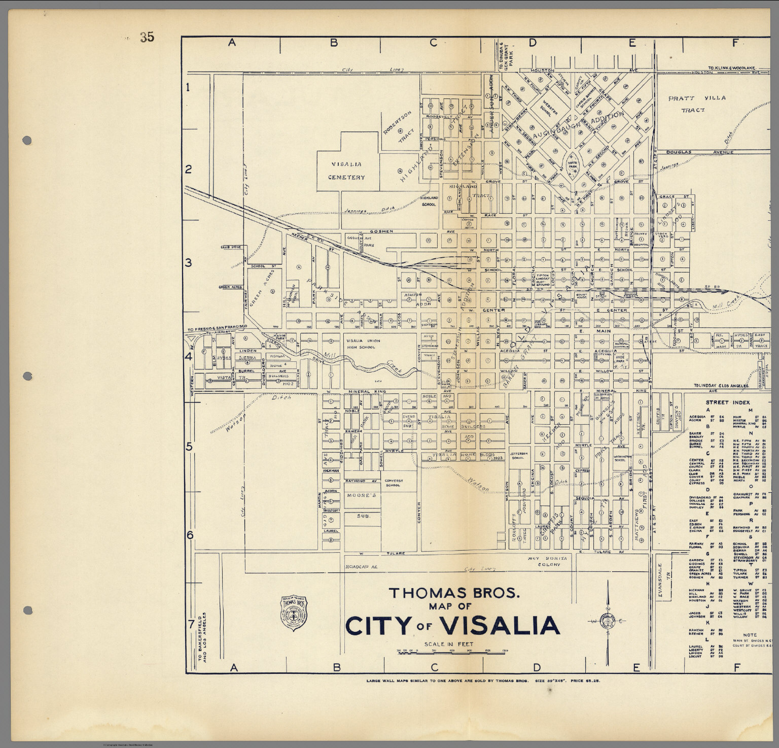 Thomas Bros Map of City of Visalia California David Rumsey