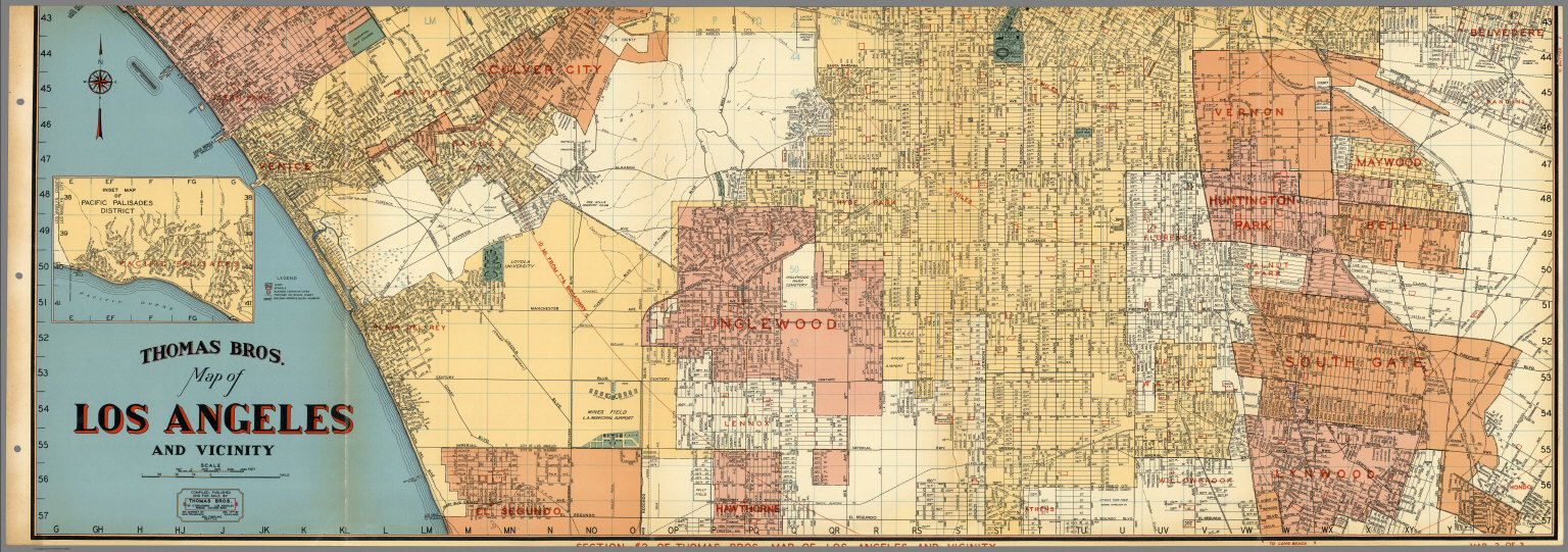 Thomas Bros Map Of Los Angeles And Vicinity Venice Culver City - Inglewood map