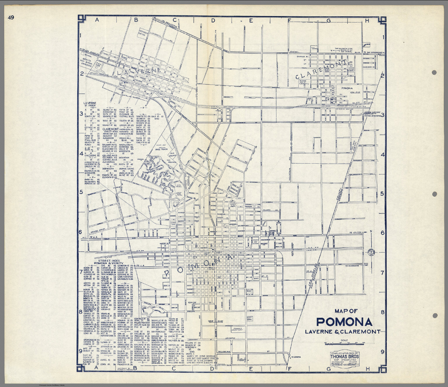 Map of Pomona, Laverne & Claremont, California.   David Rumsey