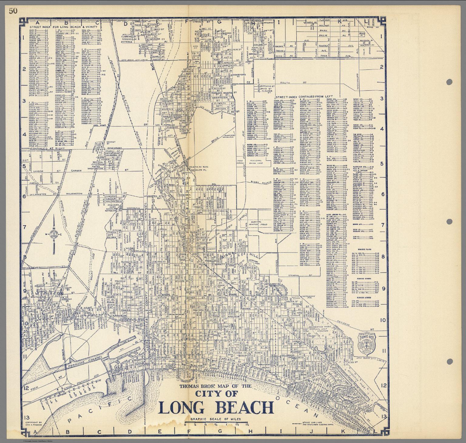 Thomas Bros\'. Map of the City of Long Beach, California. - David ...