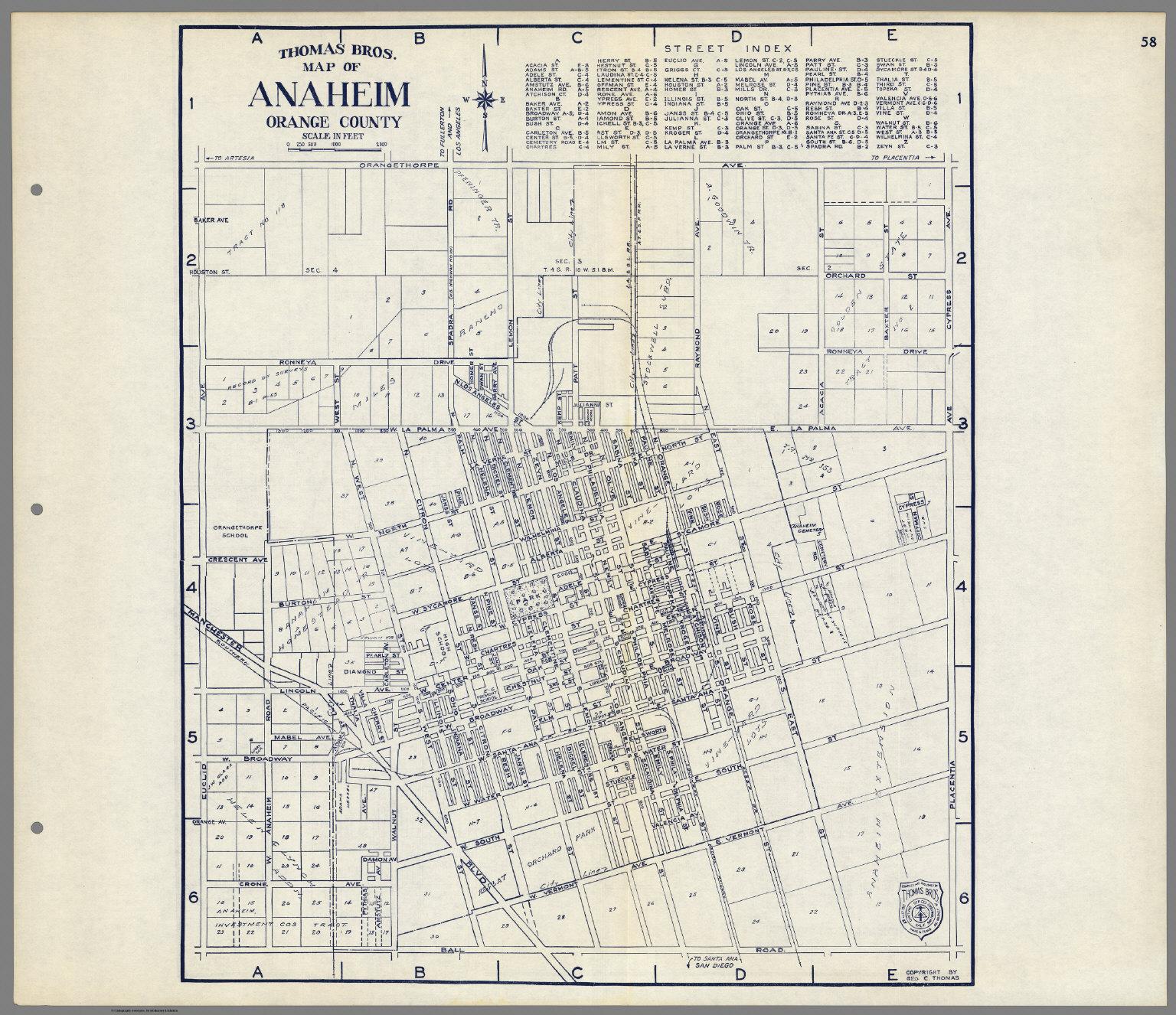 Thomas Bros Map of Anaheim Orange County California David