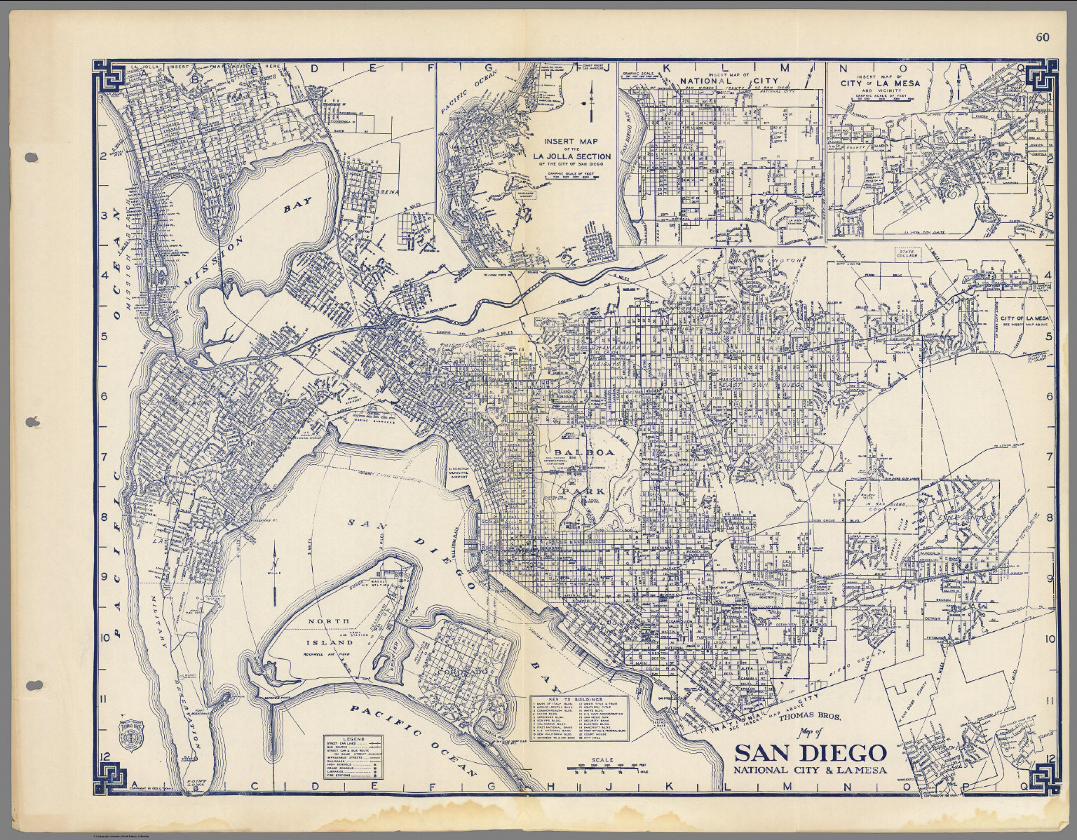 San Diego Map City.Thomas Bros Map Of San Diego National City La Mesa California