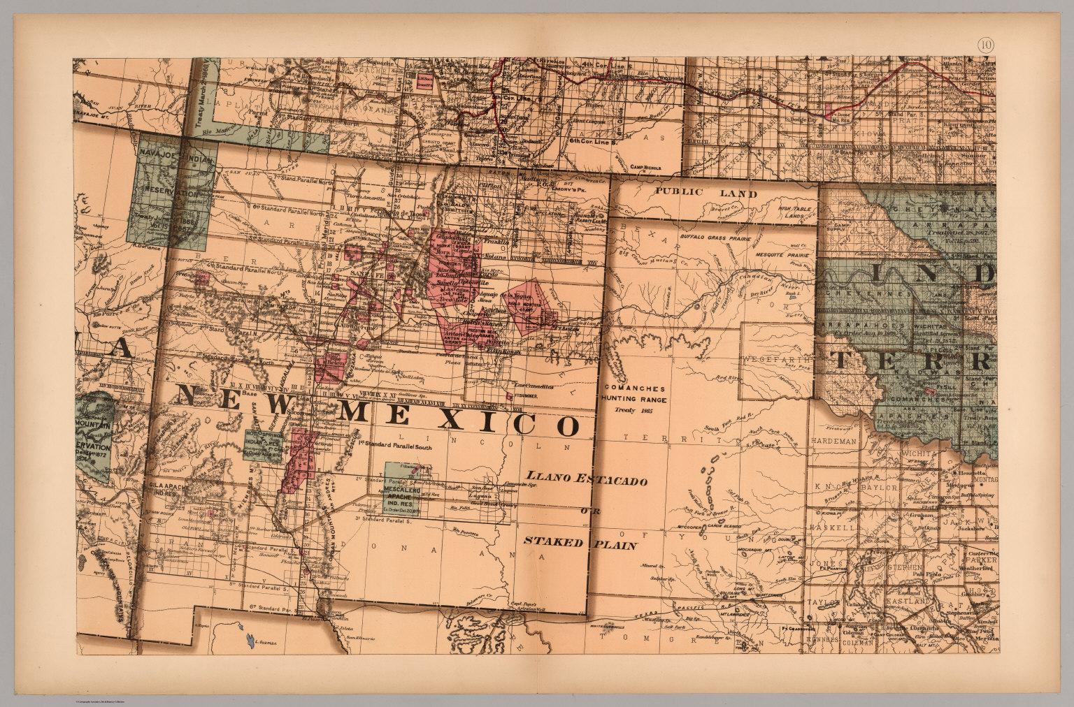 Map 10 Texas New Mexico Indian Territories Utah David