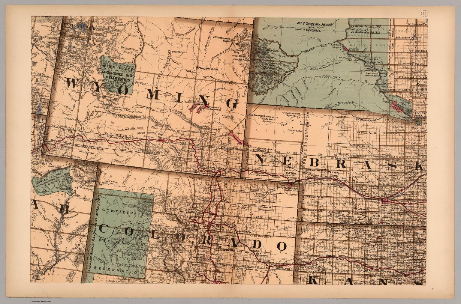 Map 11   Wyoming, Nebraska, Colorado, Kansas, South Dakota