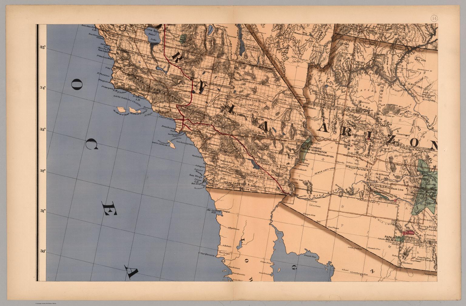Map 14 - California, Arizona, Nevada). - David Rumsey Historical Map ...