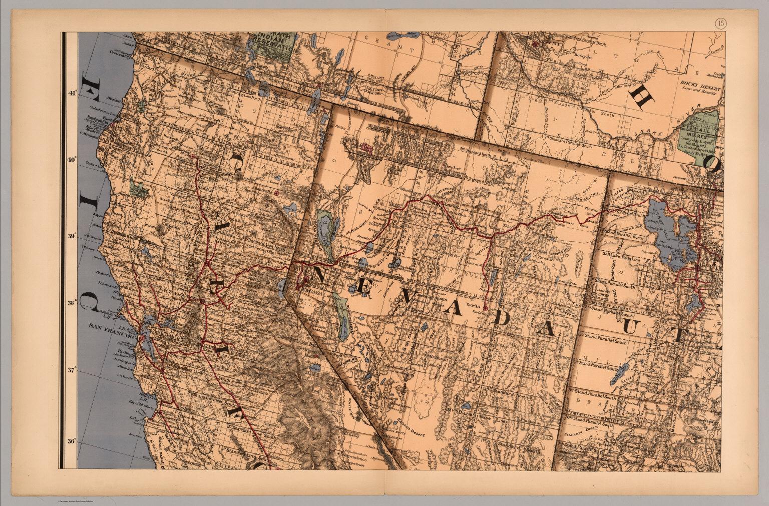Map 15 - California, Nevada, Utah, Idaho). - David Rumsey Historical ...