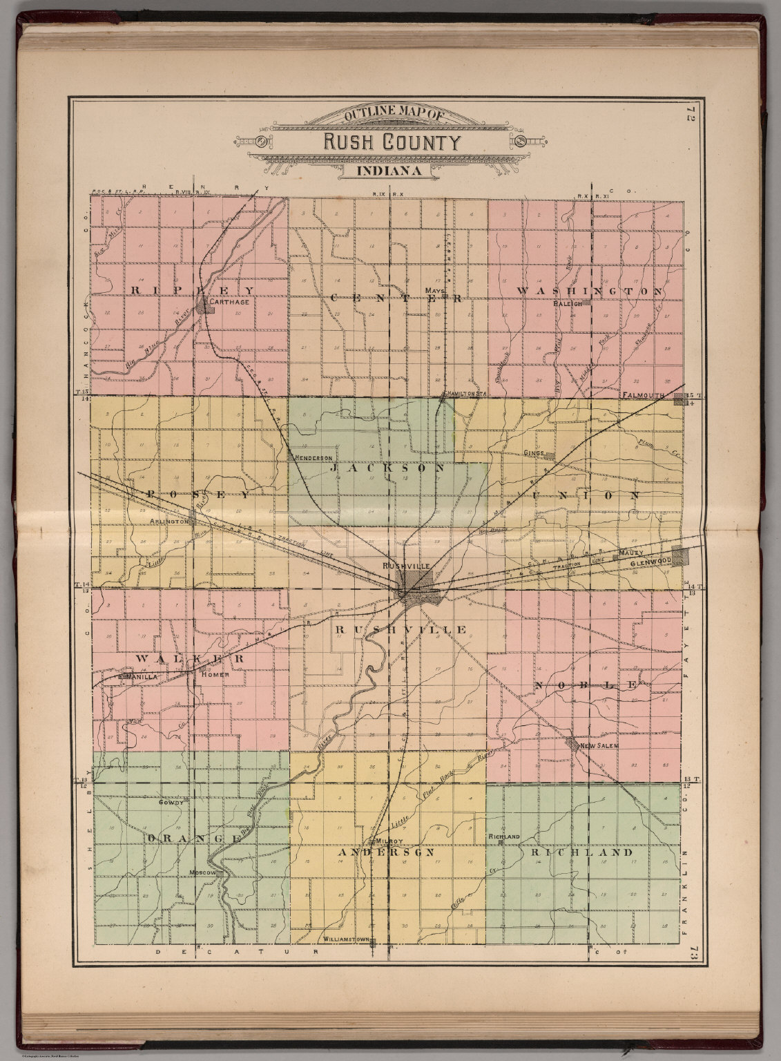 Indiana Map County.Outline Map Of Rush County Indiana David Rumsey Historical Map