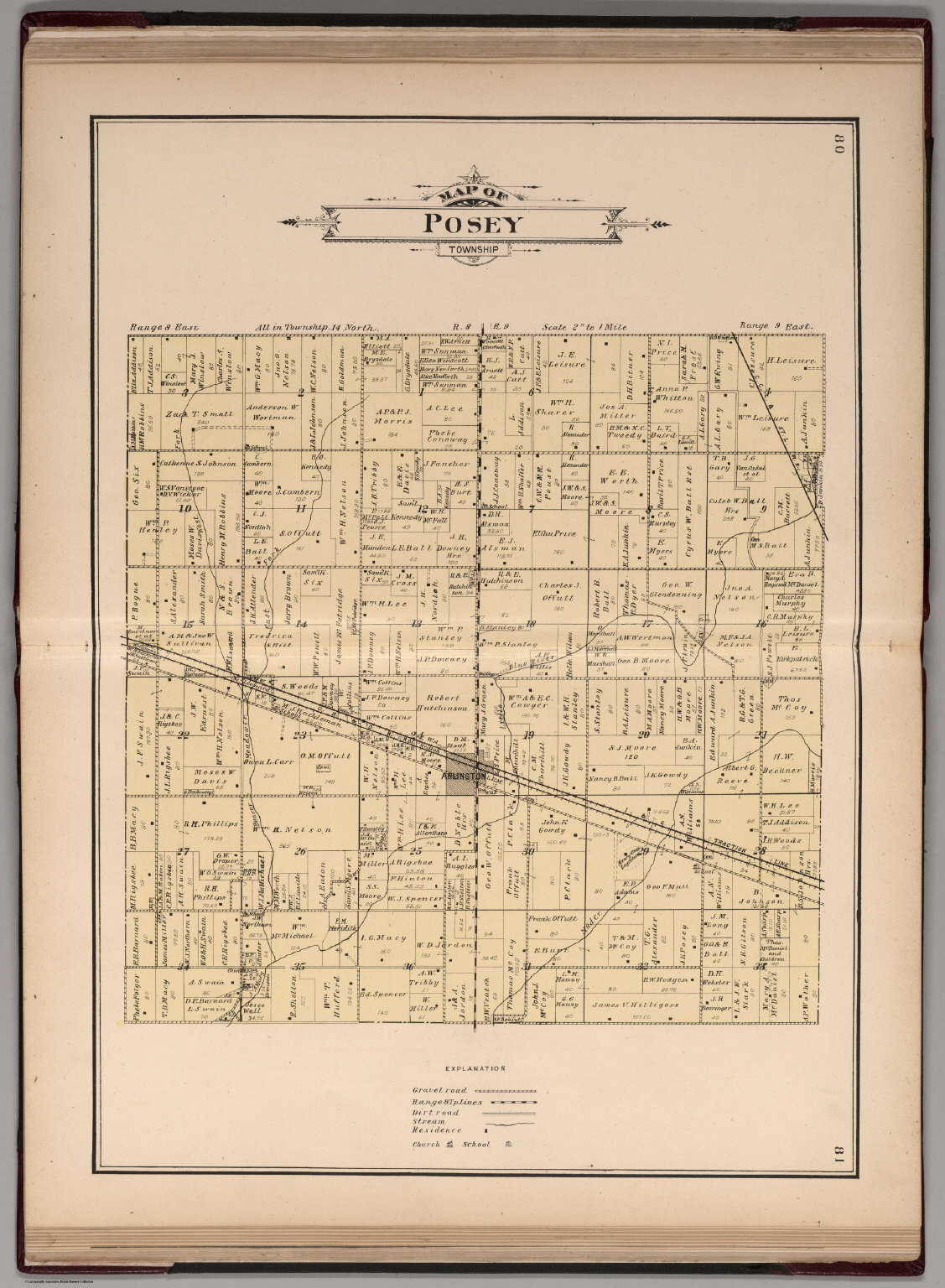 Posey Township Rush County Indiana David Rumsey Historical Map