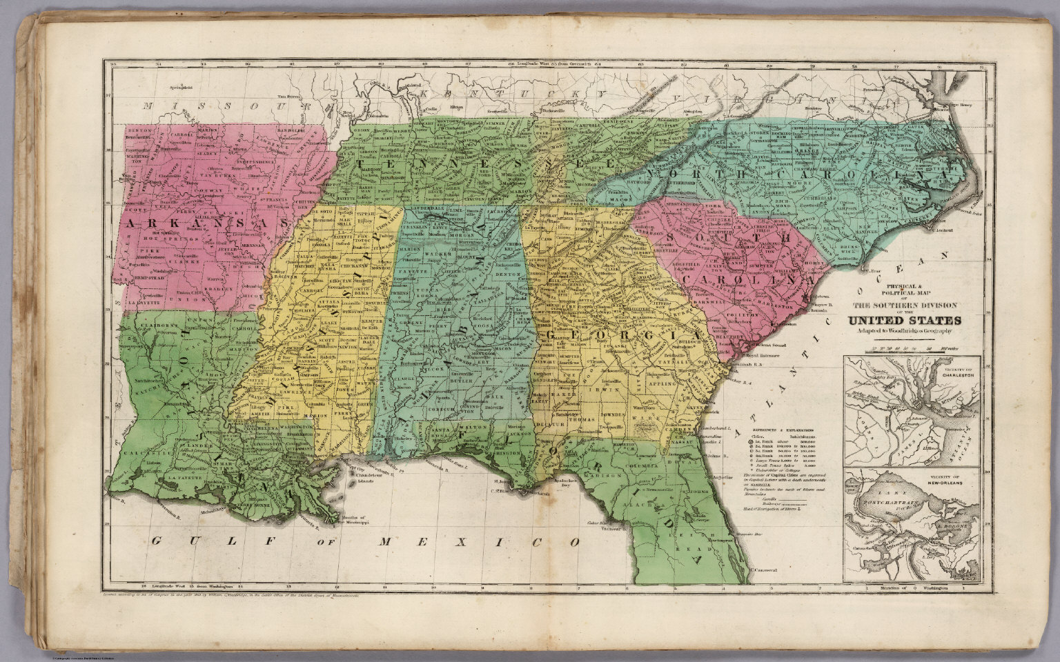 A Political Map Of The United States.Political Map Of The Southern Division Of The United States David