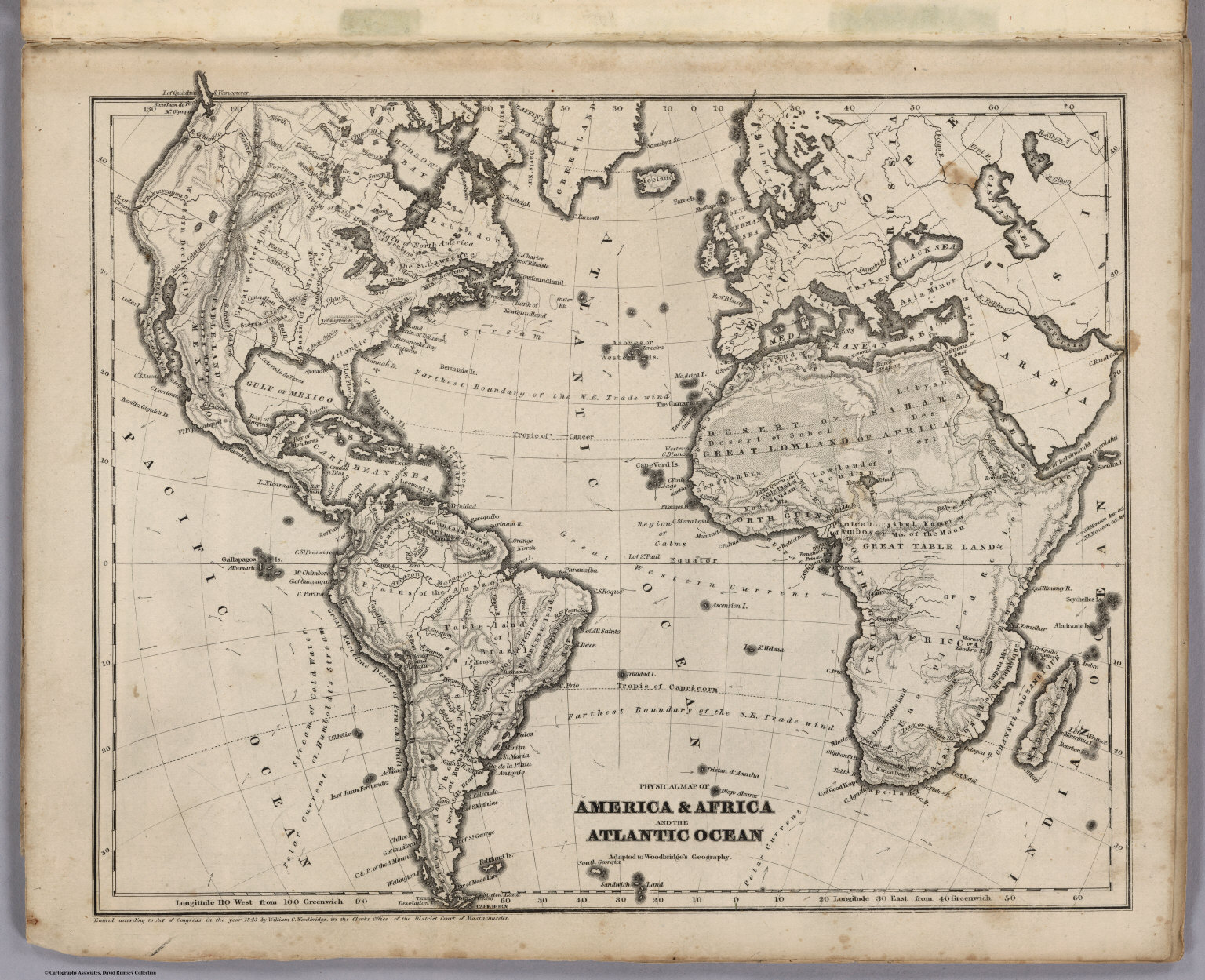 Picture of: Physical Map Of America Africa And The Atlantic Ocean David Rumsey Historical Map Collection