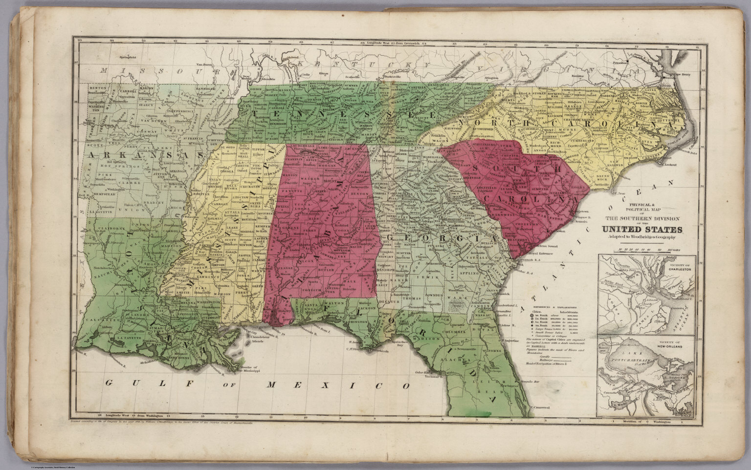 Physical & Political Map Of The Southern Division Of the United ...