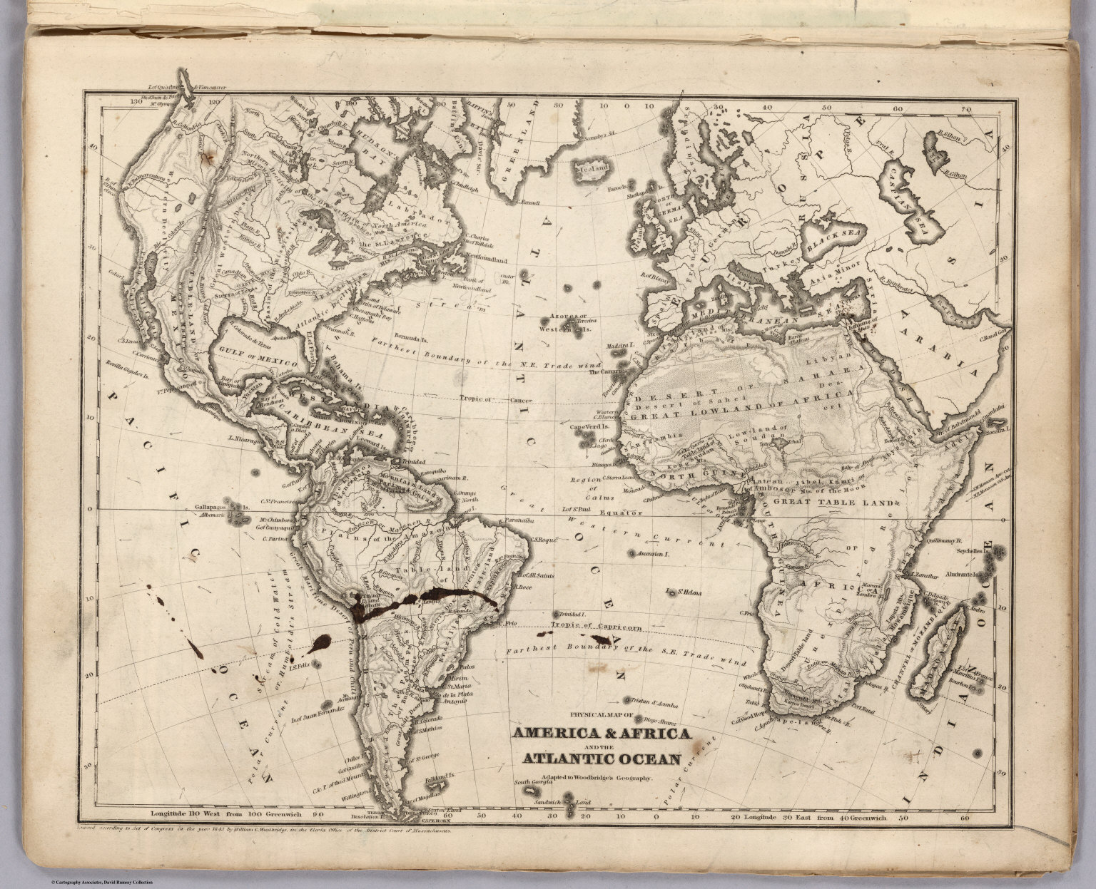 Physical Map Of America Africa And The Atlantic Ocean David Rumsey Historical Map Collection