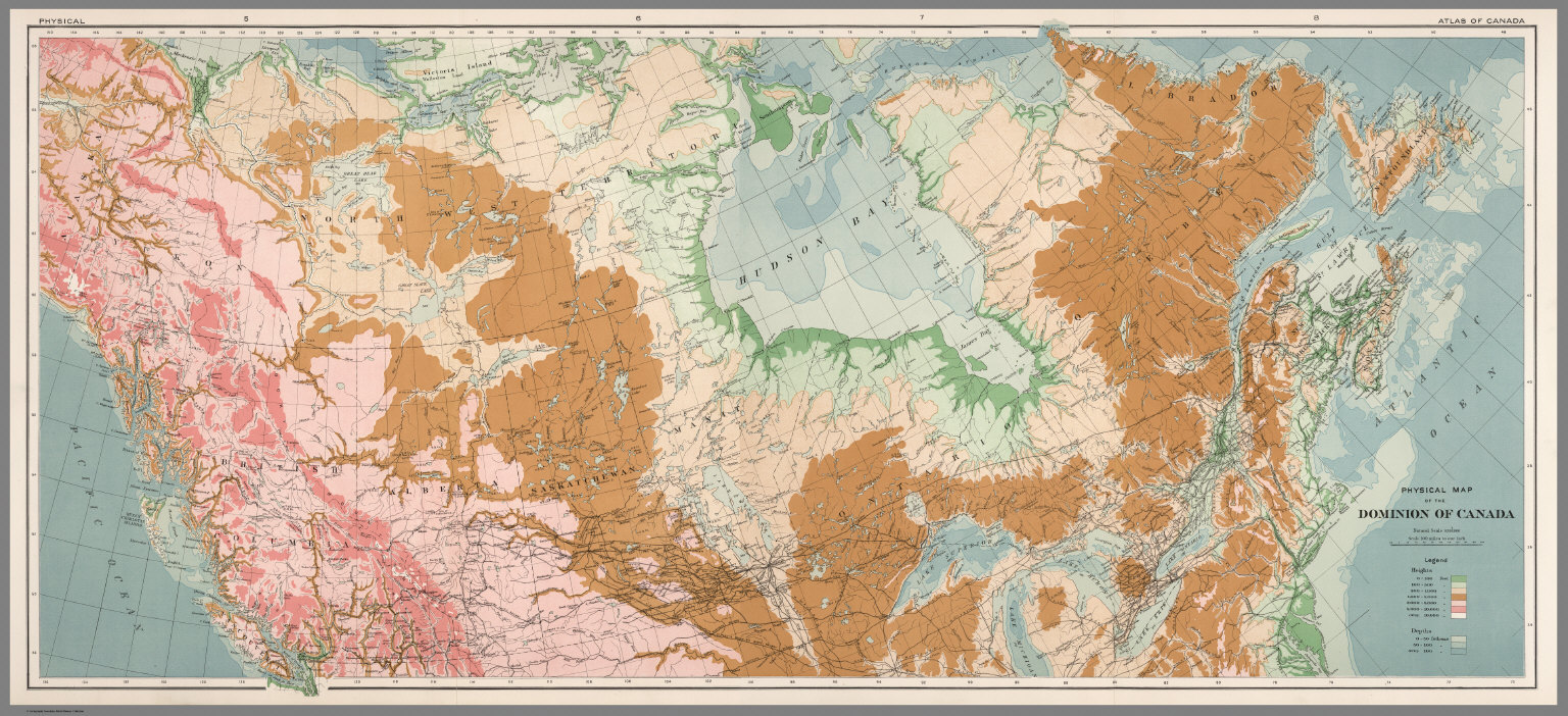 Composite Physical Map Of The Dominion Of Canada David Rumsey - Canada physical map
