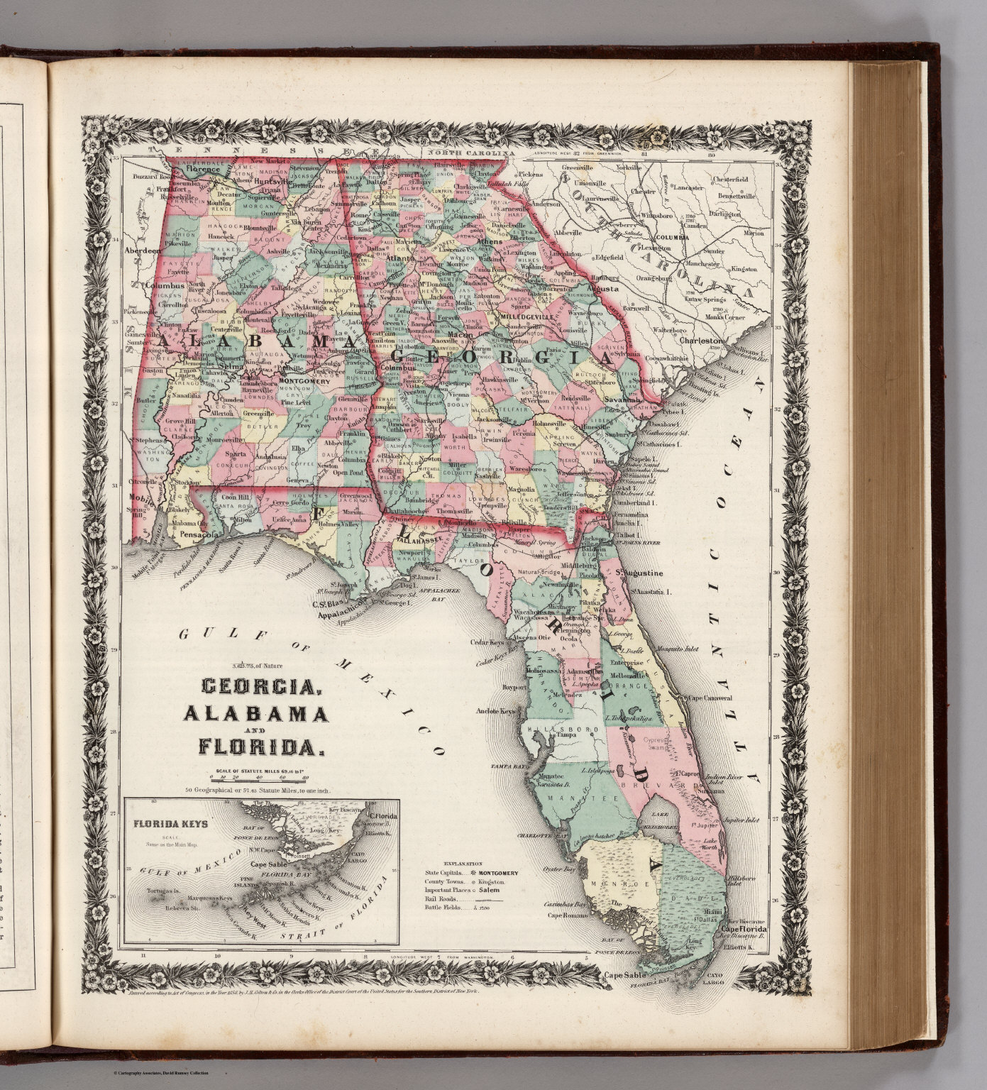 Florida And Georgia Map.Georgia Alabama And Florida David Rumsey Historical Map Collection
