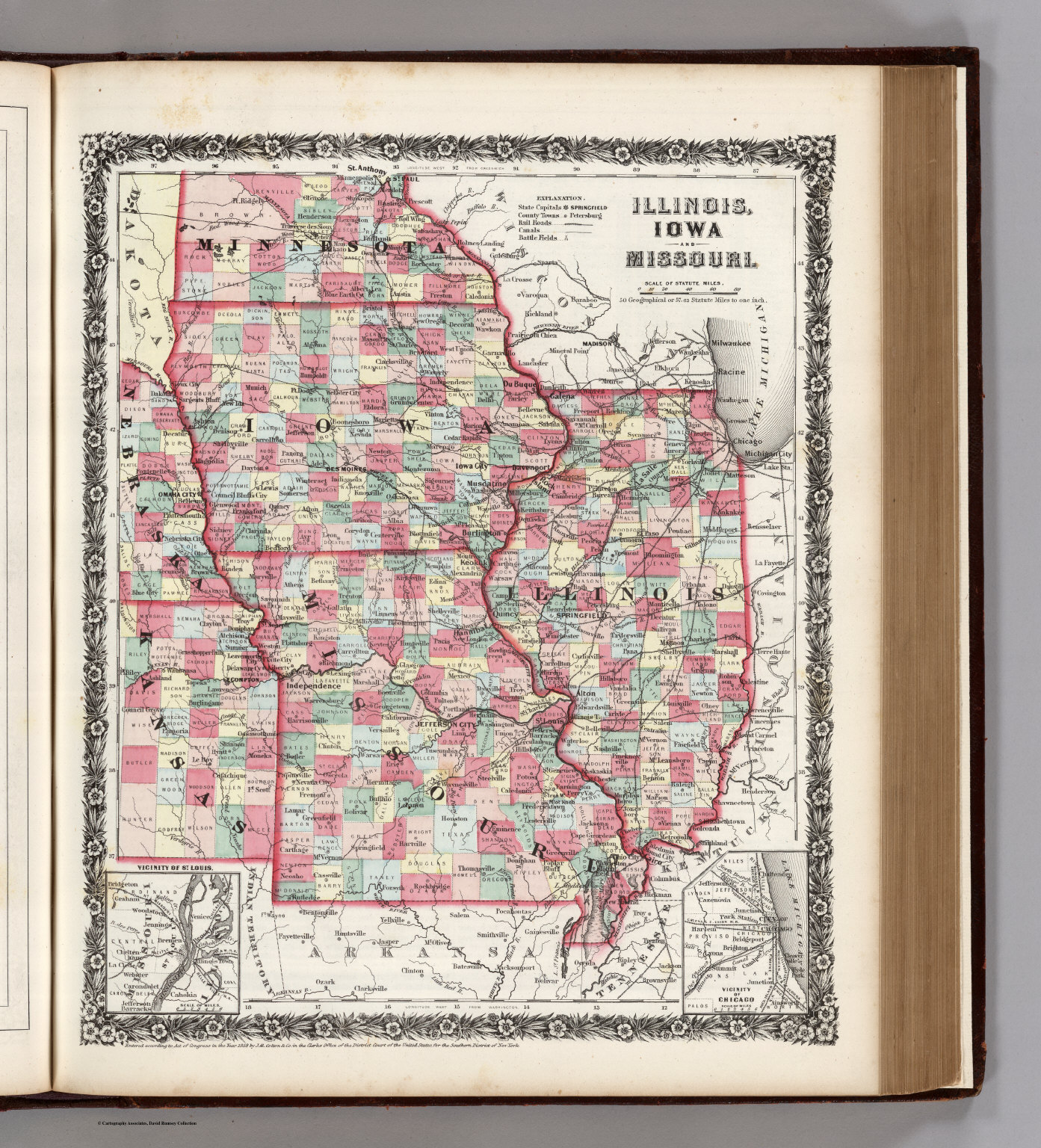 Illinois Iowa and Missouri David Rumsey Historical Map Collection