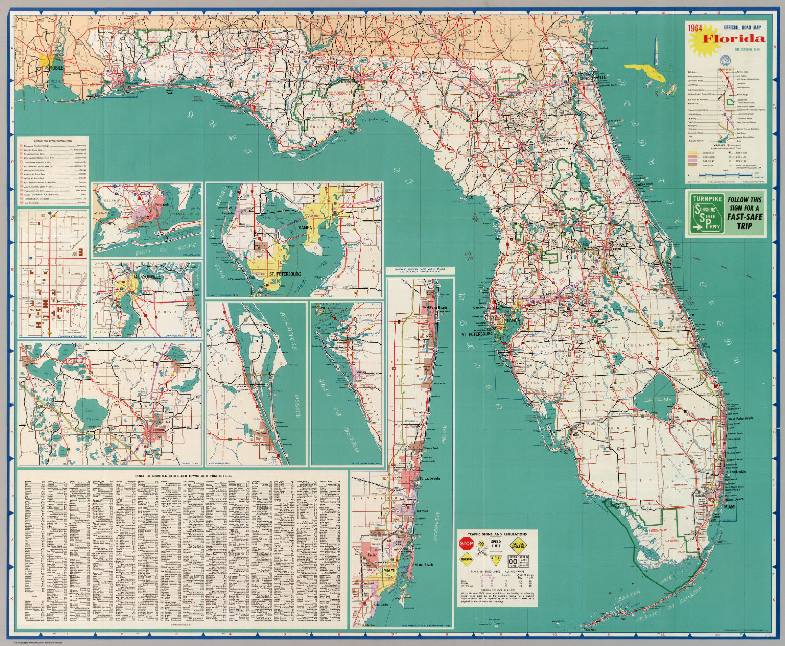 Flordia State Map.Official Road Map Florida The Sunshine State David Rumsey