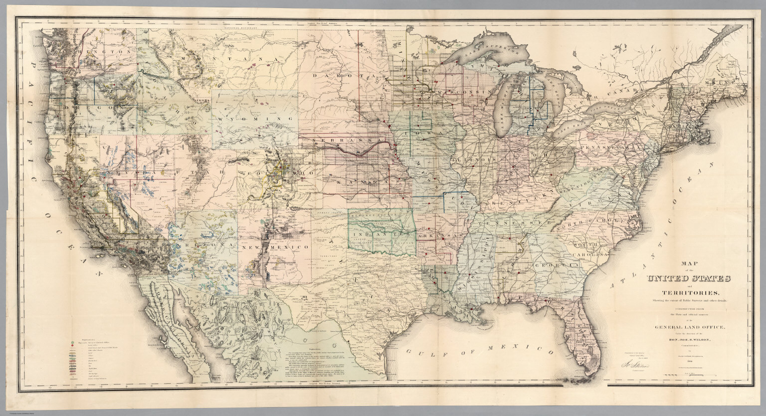 Map Of The United States And Territories 1869 David Rumsey