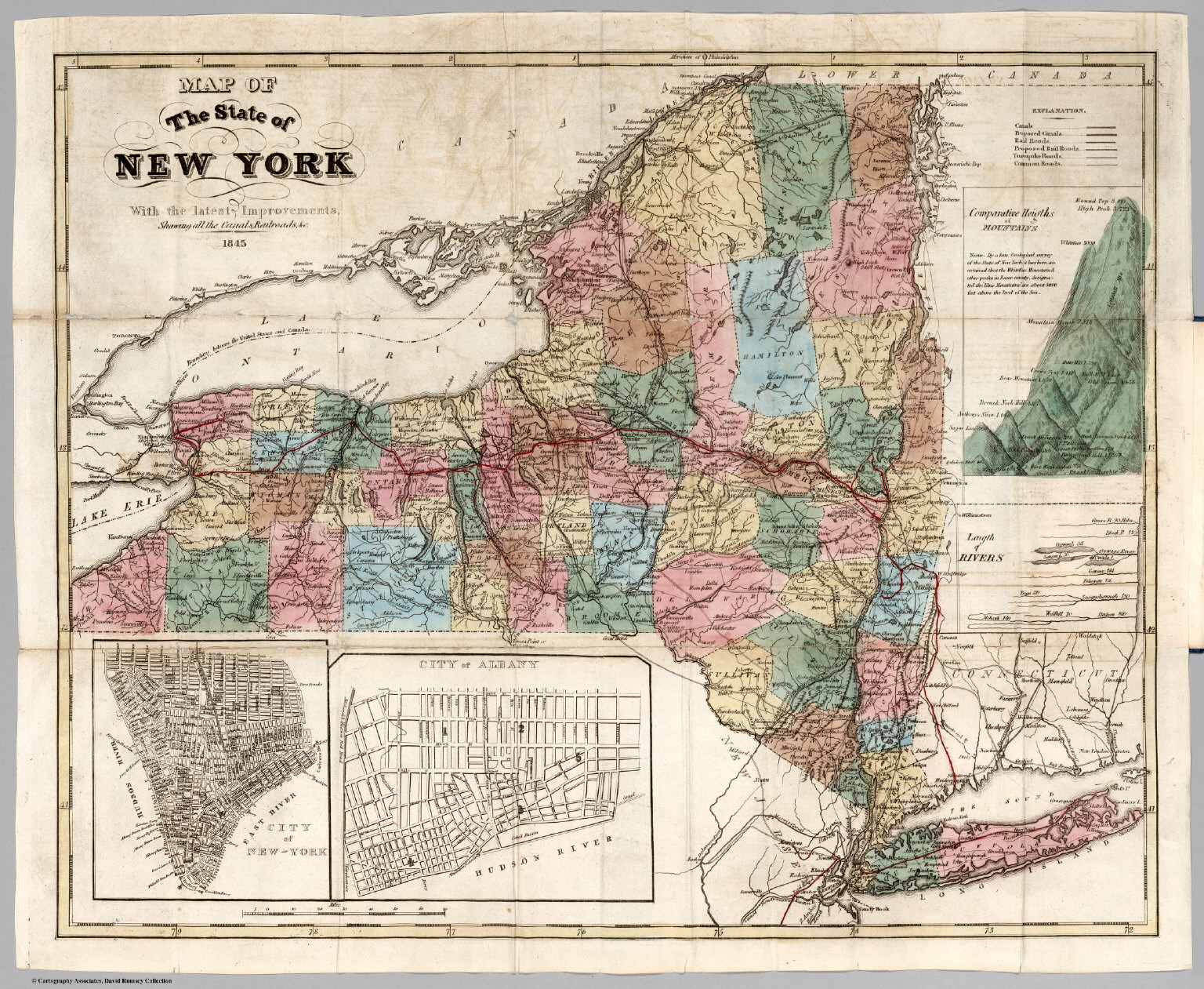 Map Of New York State And Canada.Map Of The State Of New York With The Latest Improvements David
