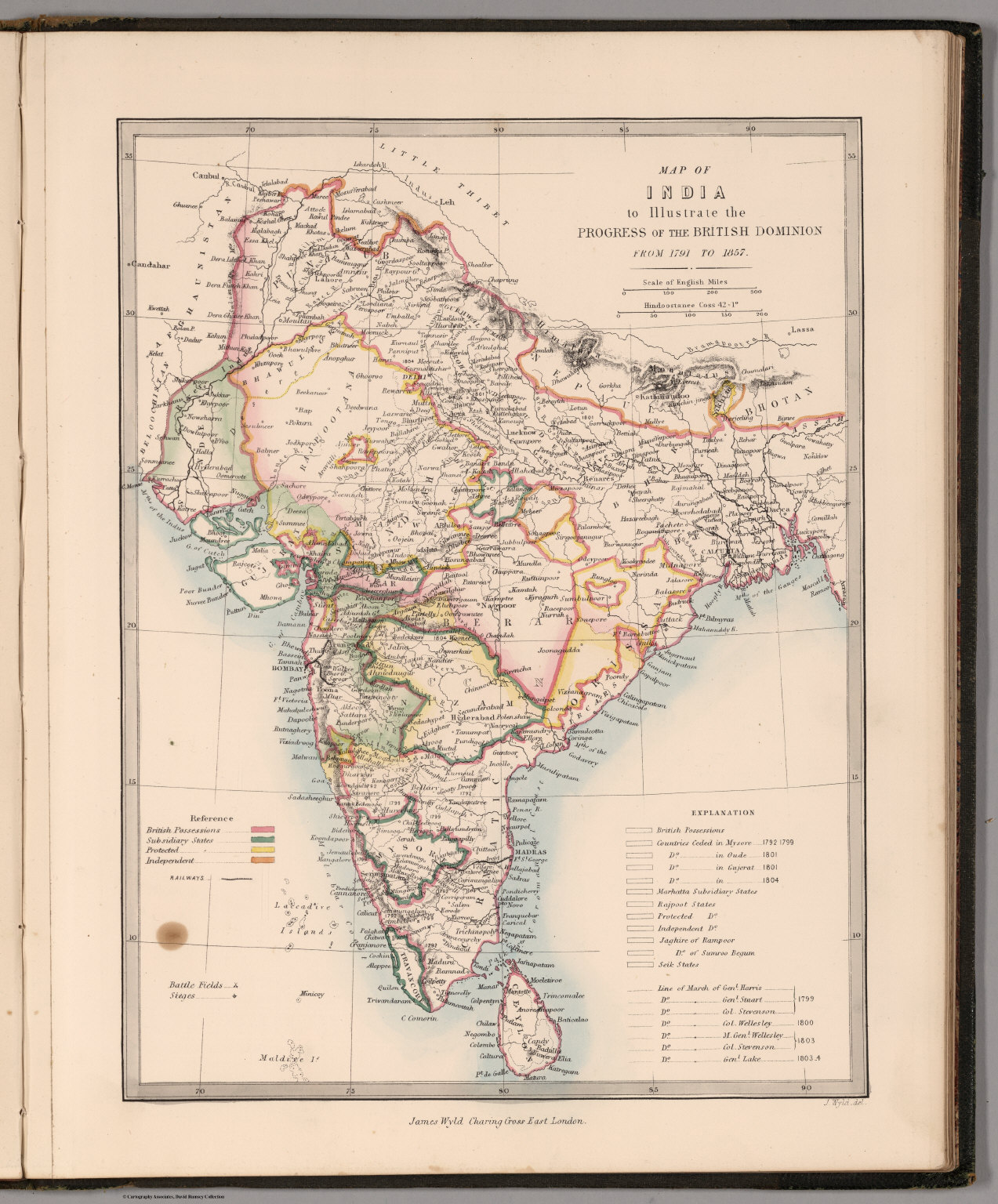 Map of india to illustrate the progress of the british dominion from map of india to illustrate the progress of the british dominion from 1791 to 1857 gumiabroncs Choice Image
