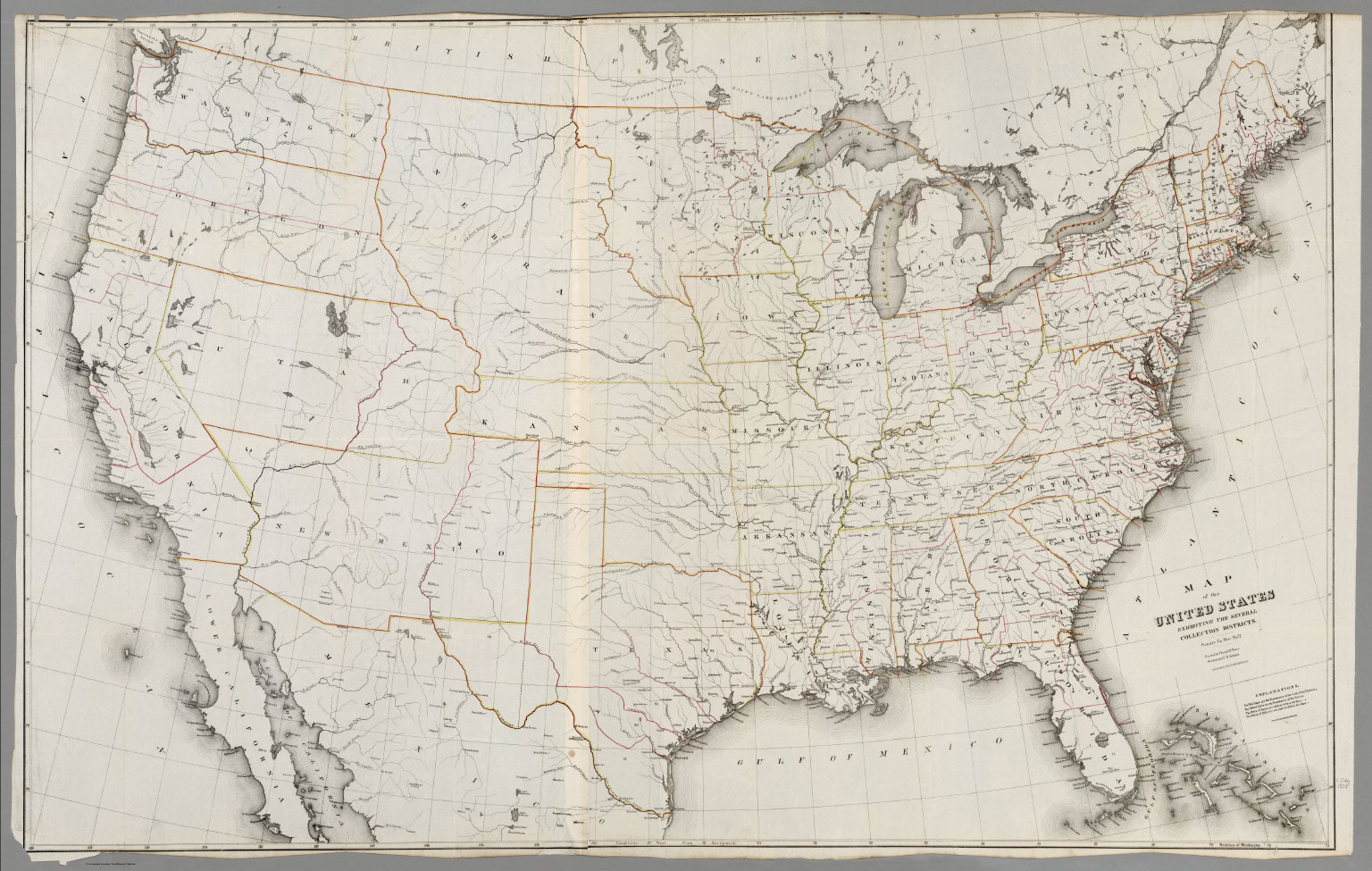 Map of the United States, 1854