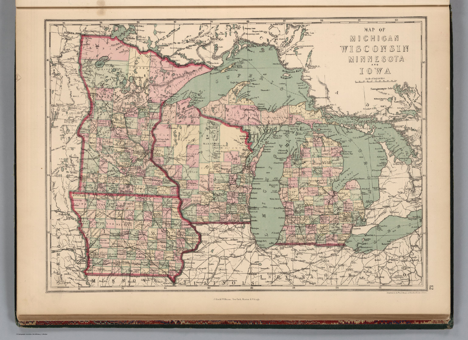 Michigan Wisconsin Minnesota And Iowa David Rumsey Historical - Map of wisconsin and michigan