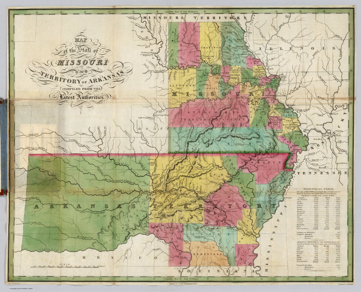 Missouri And Territory Of Arkansas   David Rumsey Historical Map