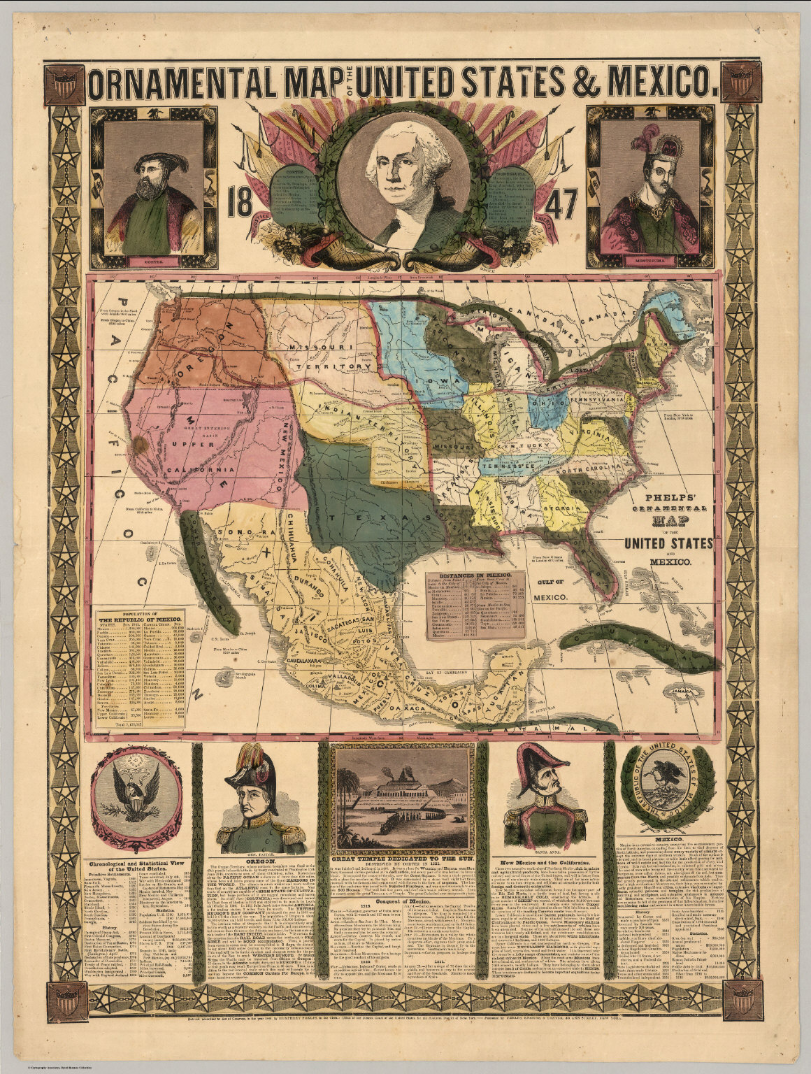 Ornamental Map Of The United States & Mexico, 1847 - David Rumsey ...