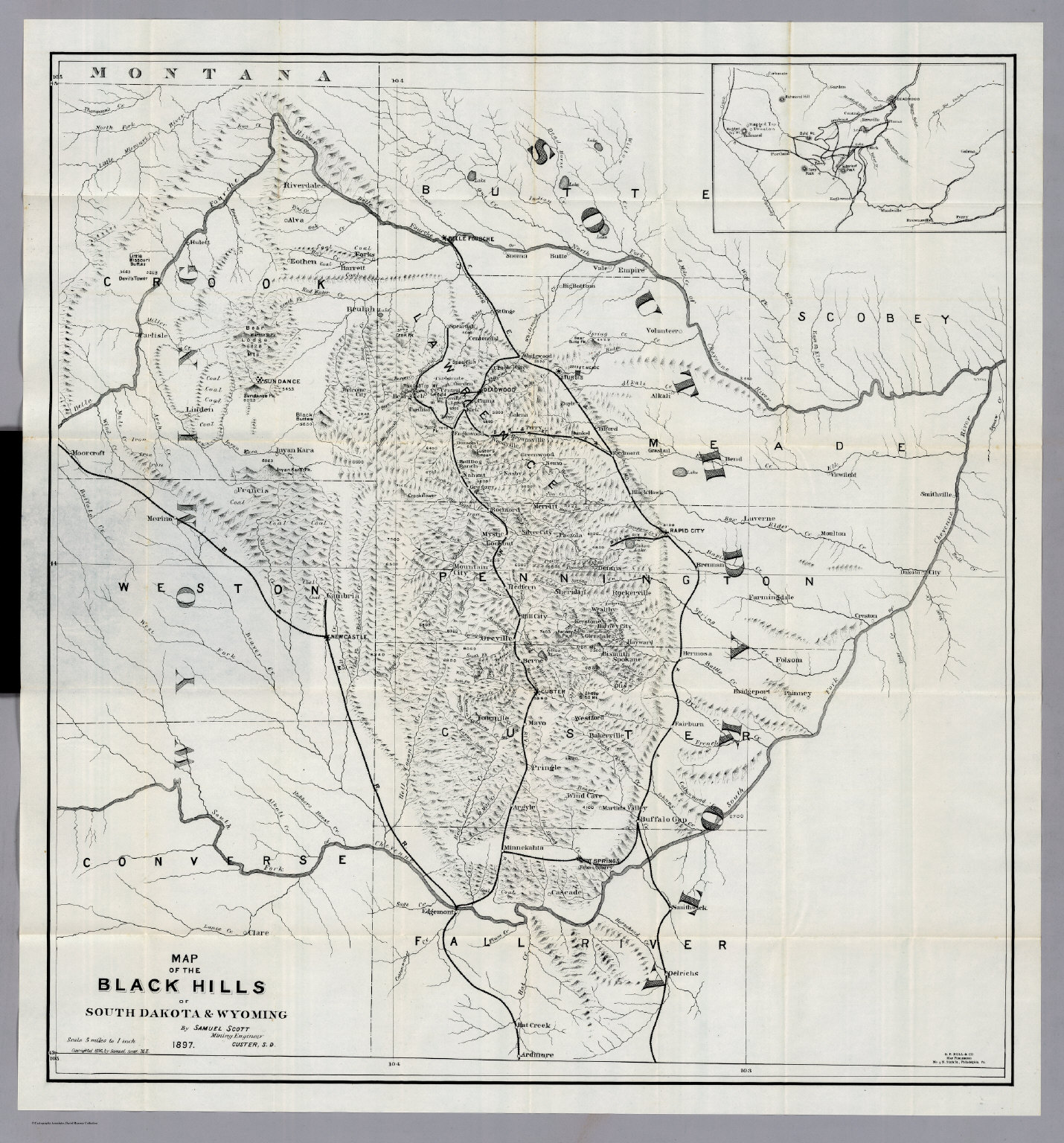 Black Hills Of South Dakota And Wyoming David Rumsey Historical - Map of south dakota