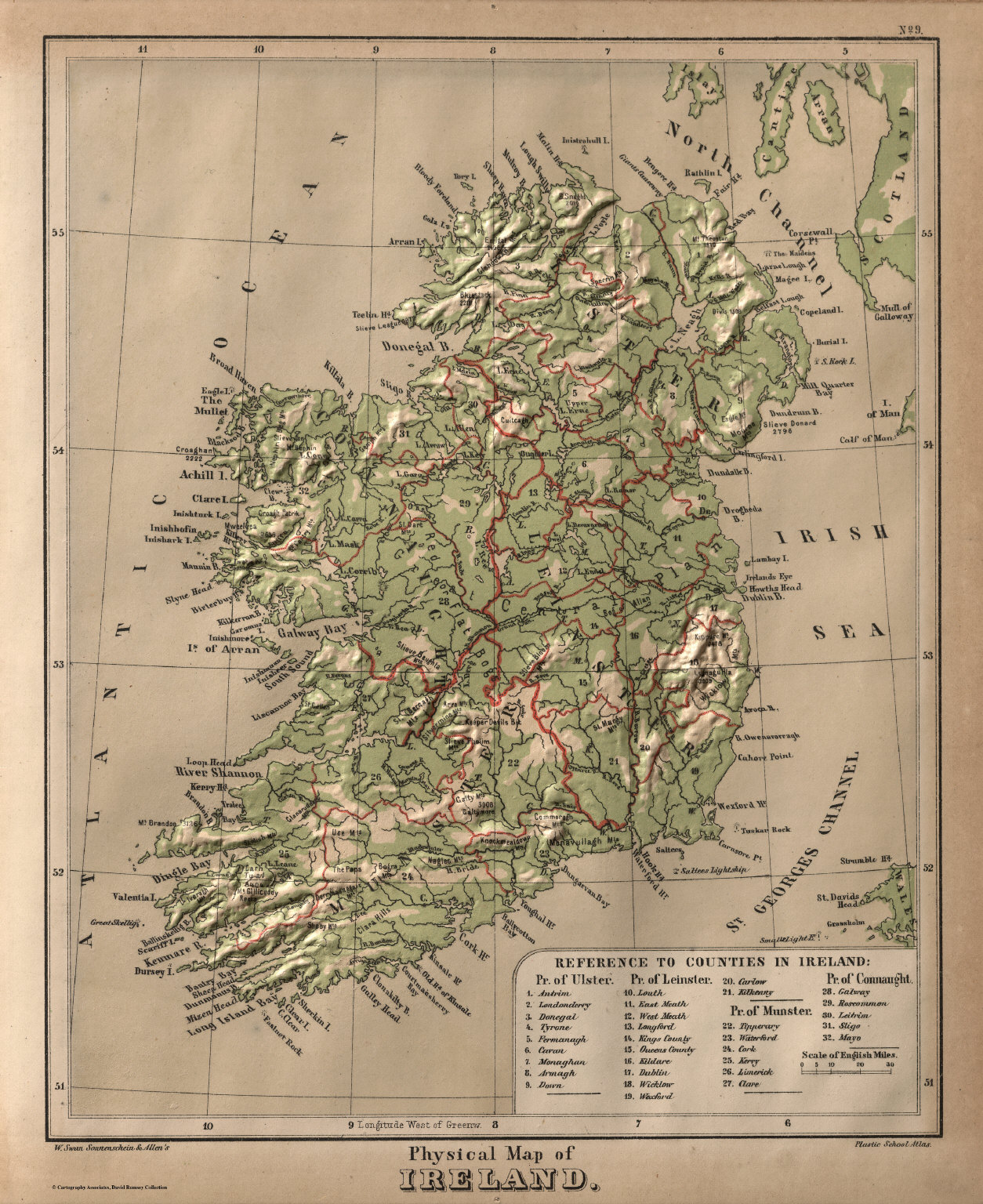 Physical Map Of Ireland David Rumsey Historical Map Collection - Physical map of ireland